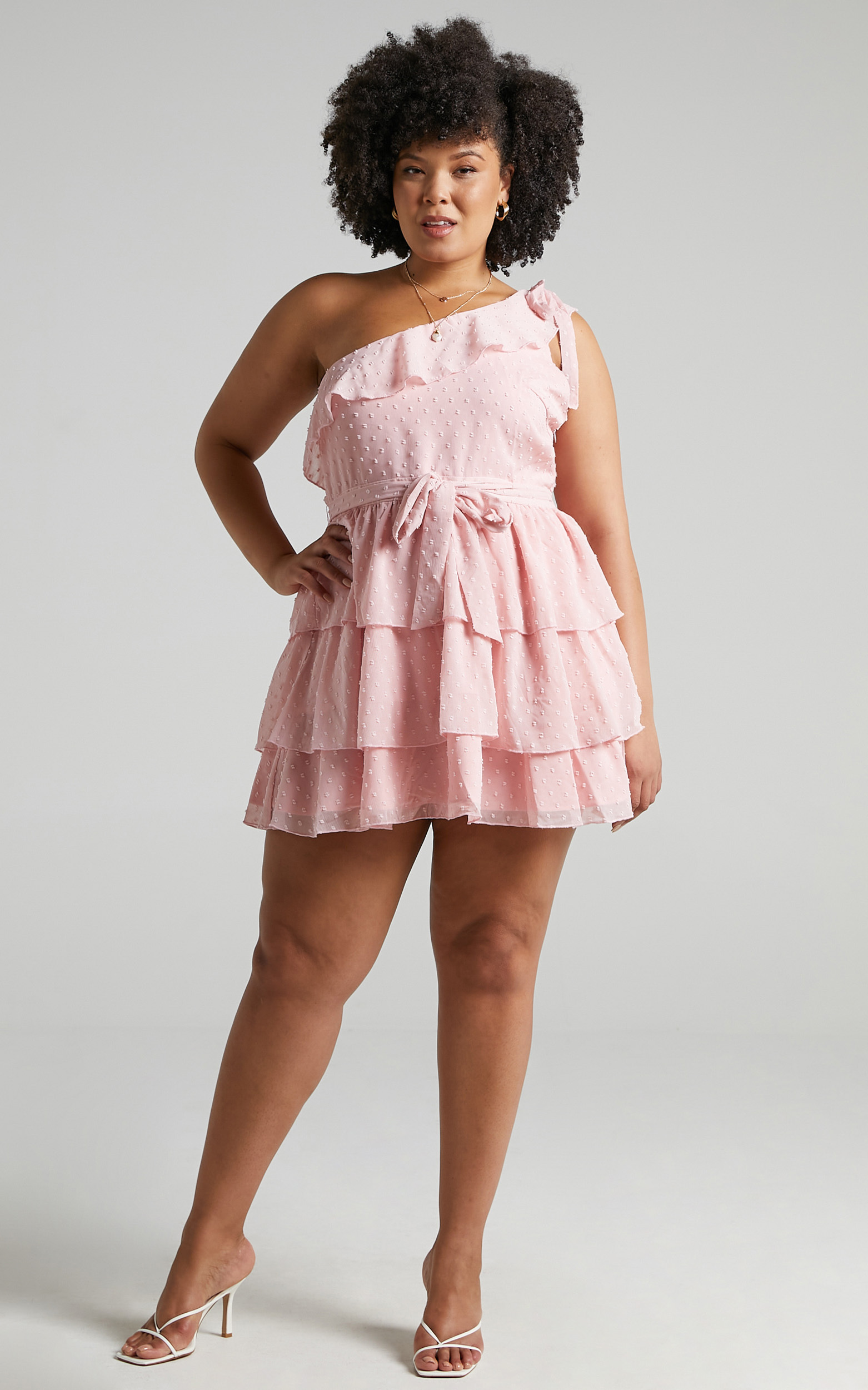 Darling I Am A Daydream One Shoulder Ruffle Mini Dress in Blush - 20, PNK3, hi-res image number null
