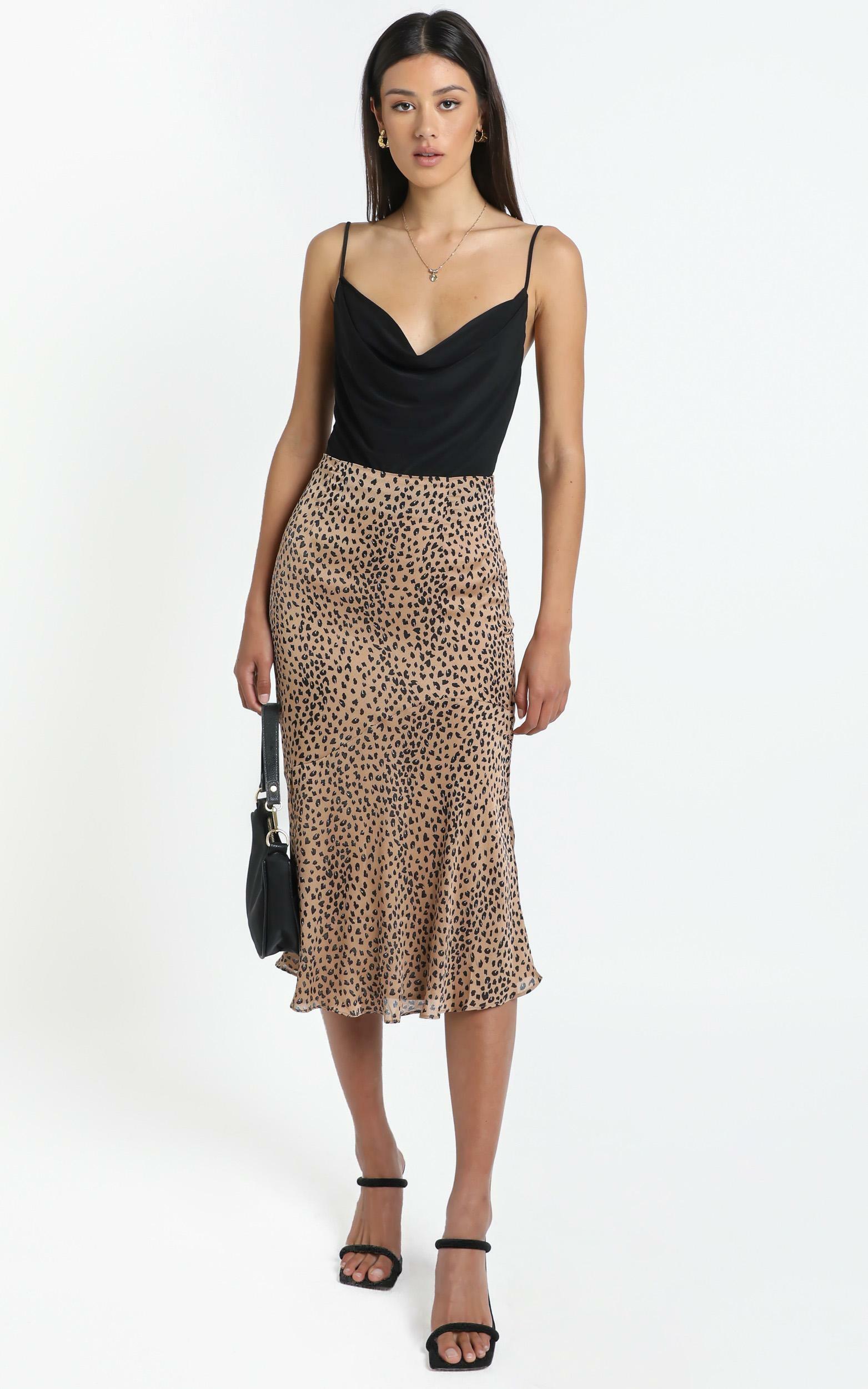 Analia Skirt in Tan Print - 14 (XL), Tan, hi-res image number null