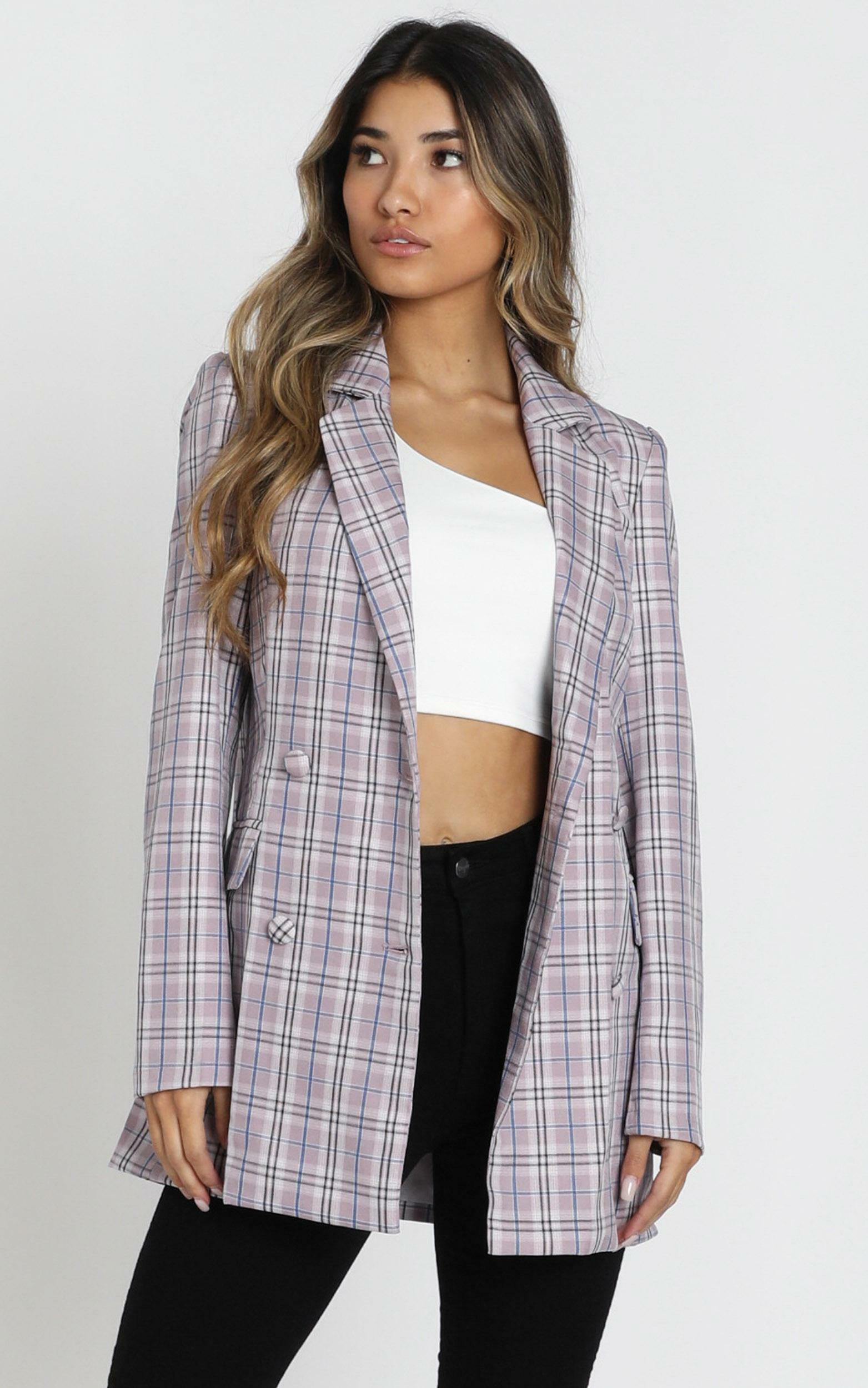 Sort It Out Blazer in lilac check - 14 (XL), Purple, hi-res image number null
