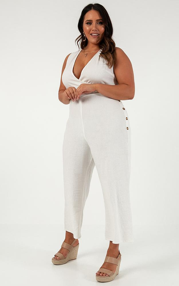 Clear As Crystal Jumpsuit in white linen look - 20 (XXXXL), White, hi-res image number null