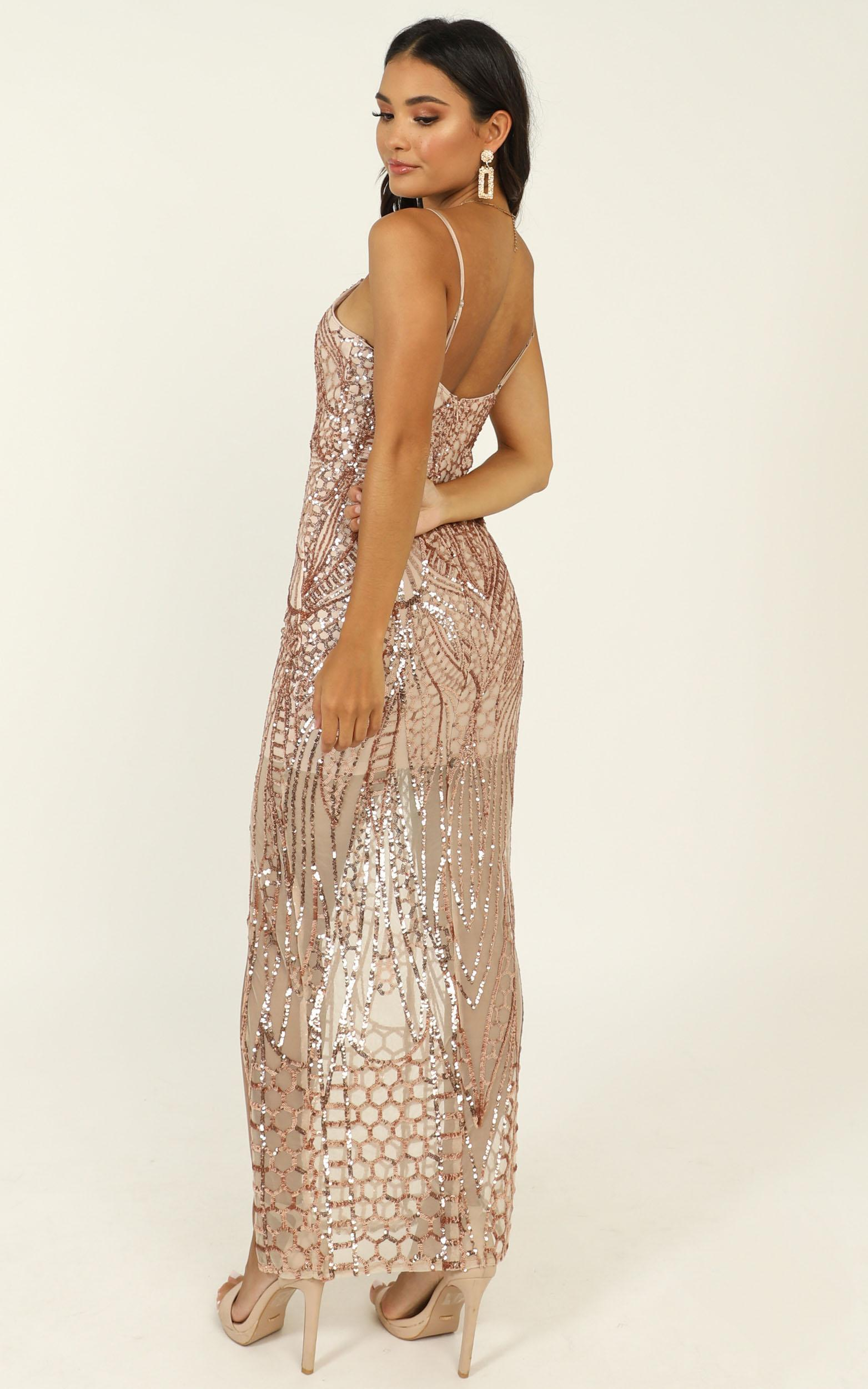 Be My Lover Dress In Rose Gold Sequin  - 4 (XXS), Gold, hi-res image number null
