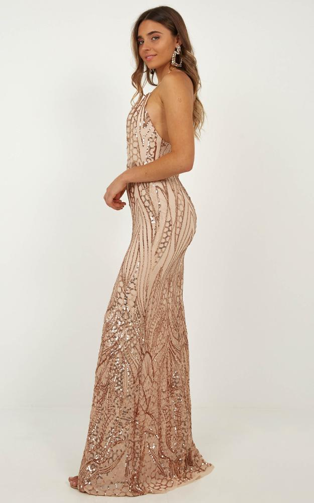 Eye Contact maxi dress in rose gold sequin - 12 (L), Gold, hi-res image number null