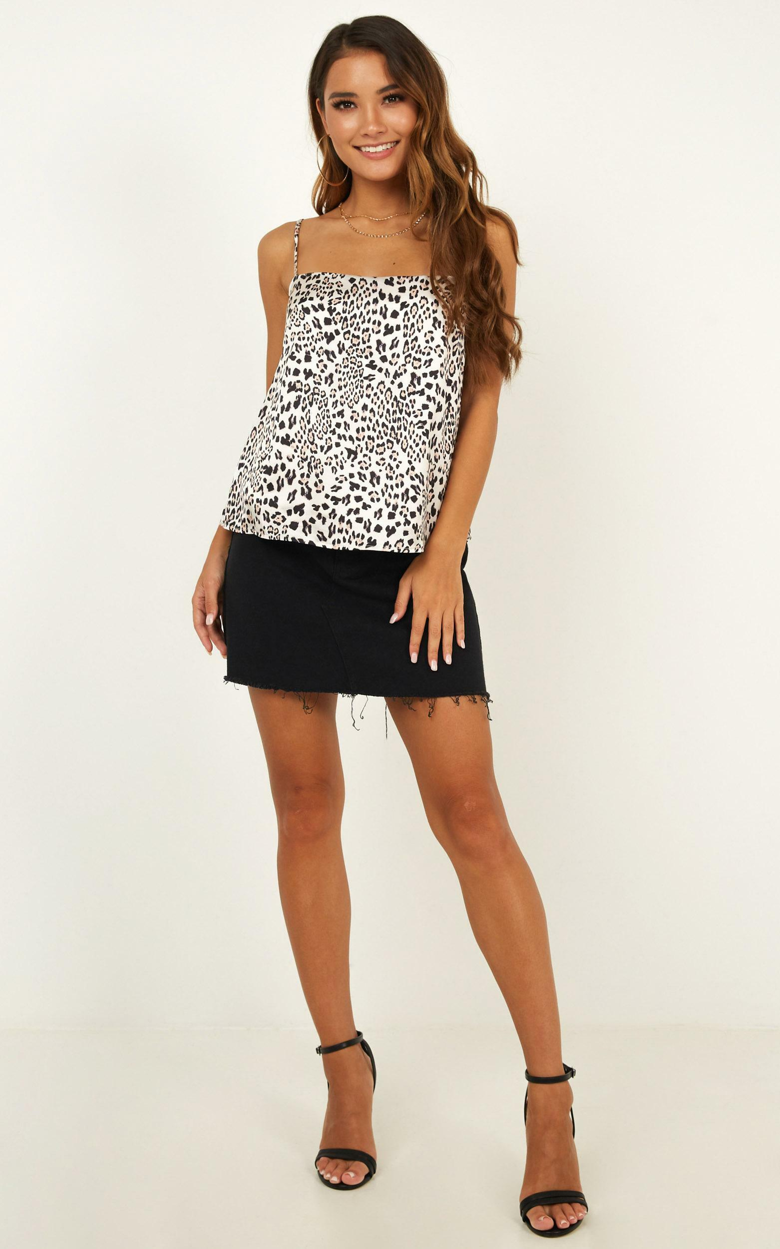 High Key Top in leopard print satin - 20 (XXXXL), Brown, hi-res image number null