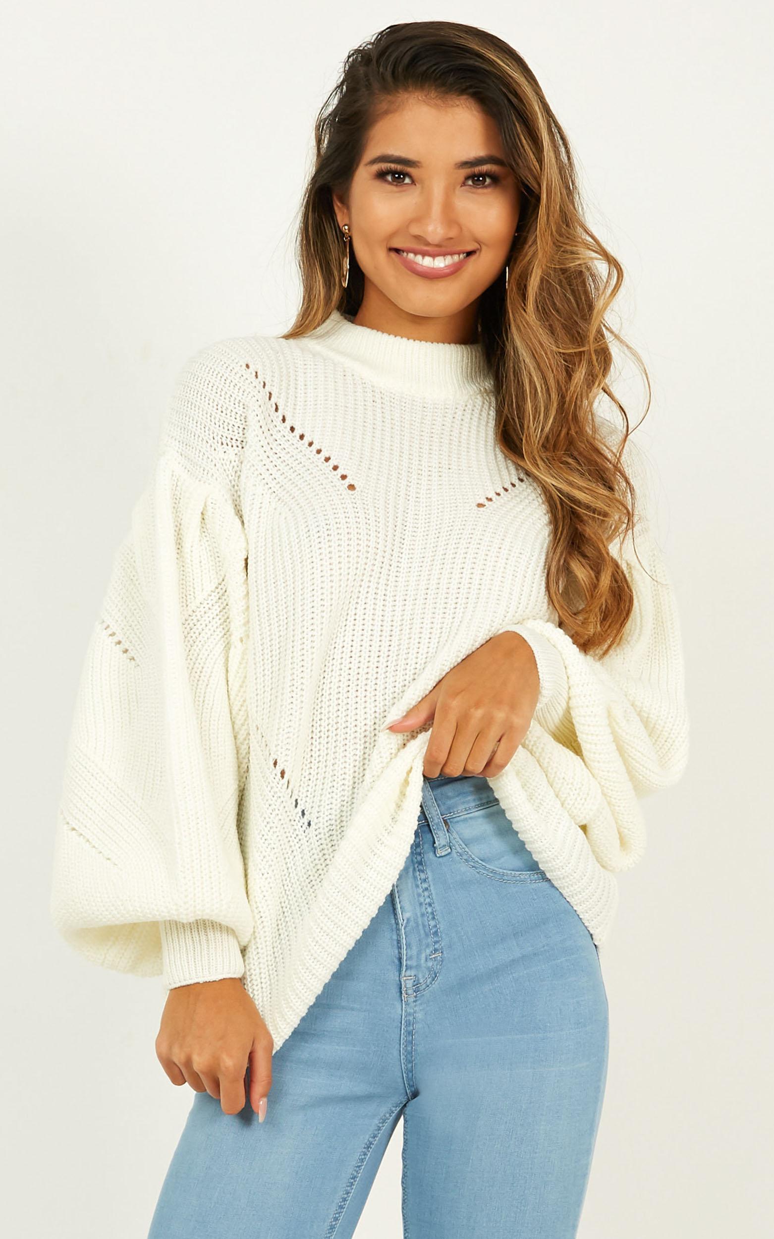 True friends Knit Top In cream - 12 (L), Cream, hi-res image number null