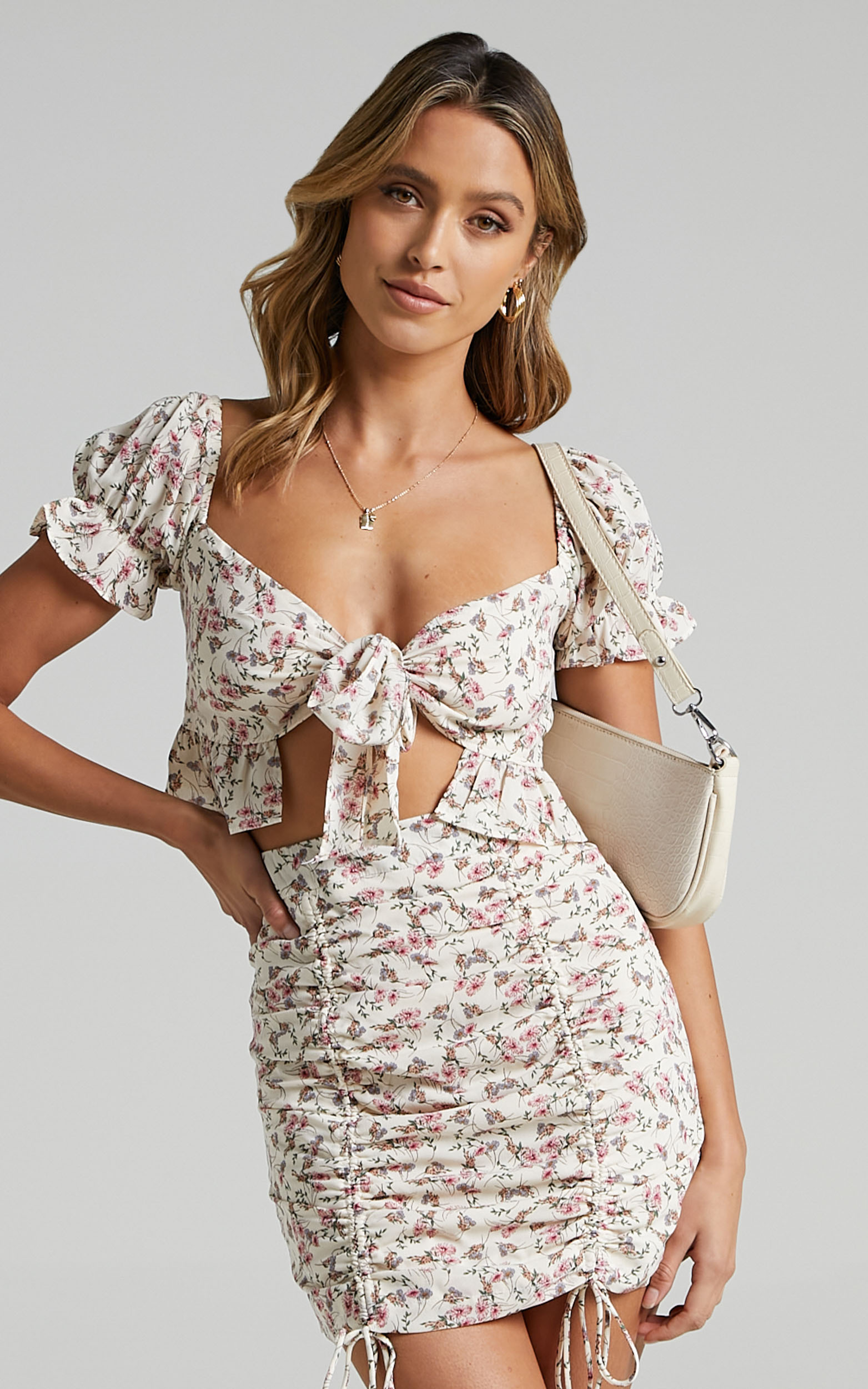 Joel Two Piece Set In White Floral - 6 (XS), White, hi-res image number null