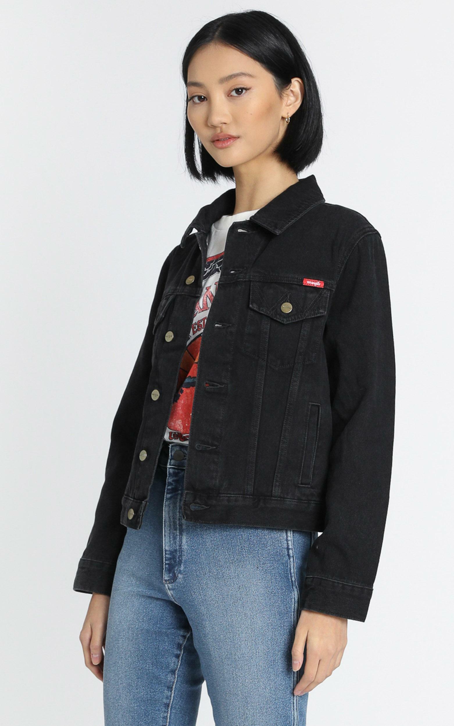 Wrangler - Classic Denim Jacket in Starr Stone - 6 (XS), Black, hi-res image number null