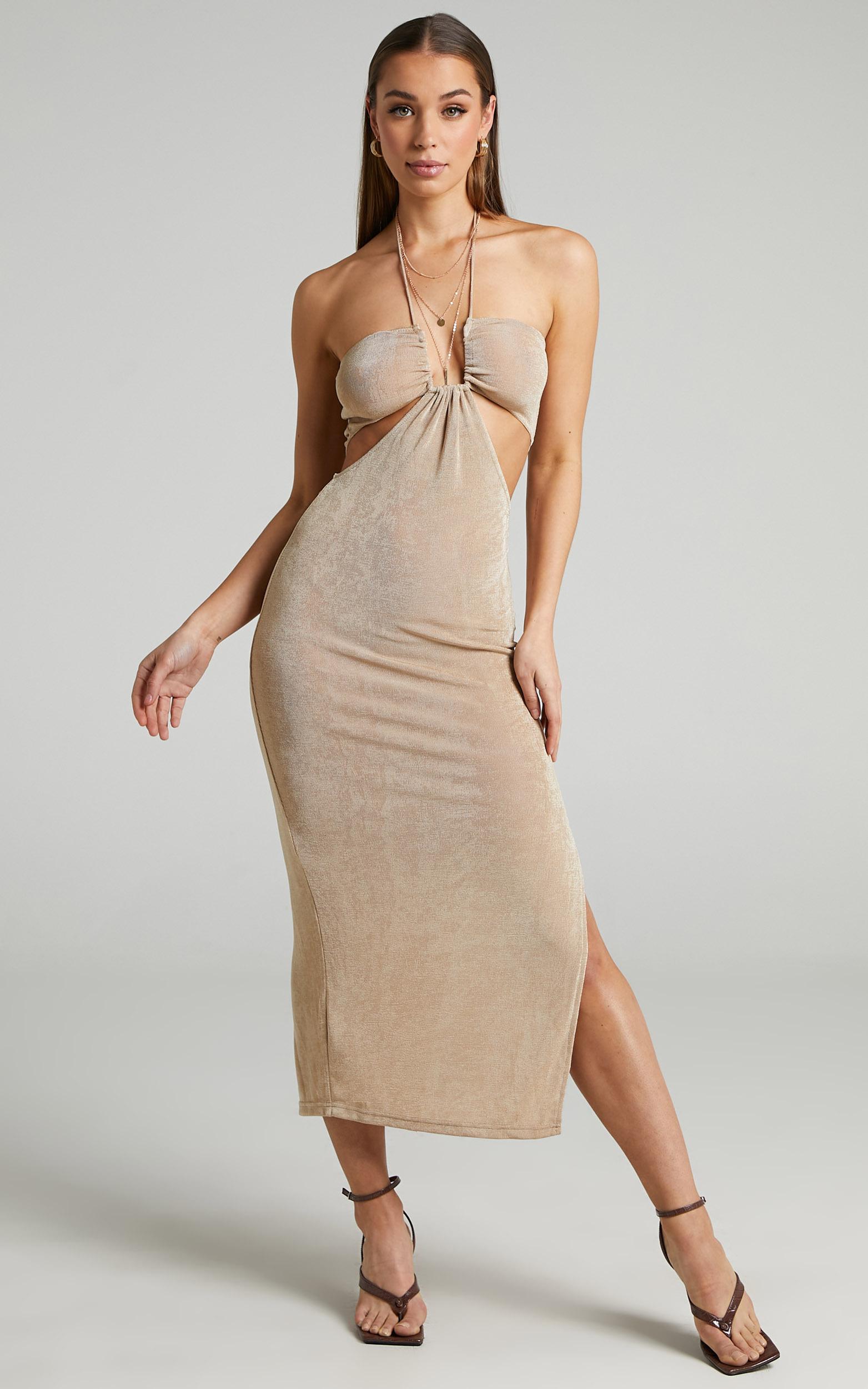 Runaway The Label - Jodi Midi Dress in Gold - L, GLD1, hi-res image number null