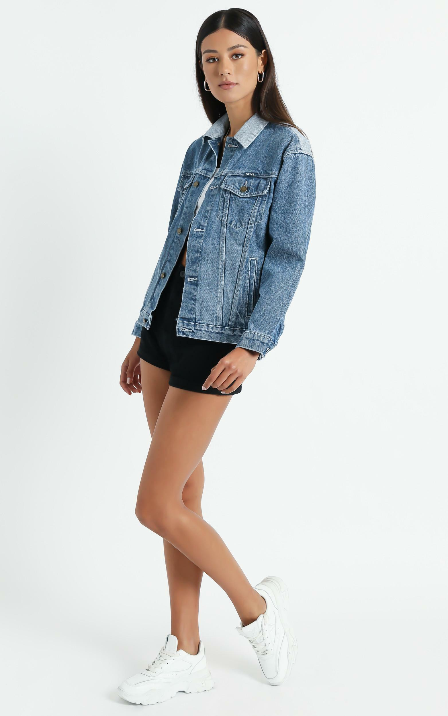 Rollas - Slouch Denim Jacket in Tumbled Blue - 14 (XL), Blue, hi-res image number null