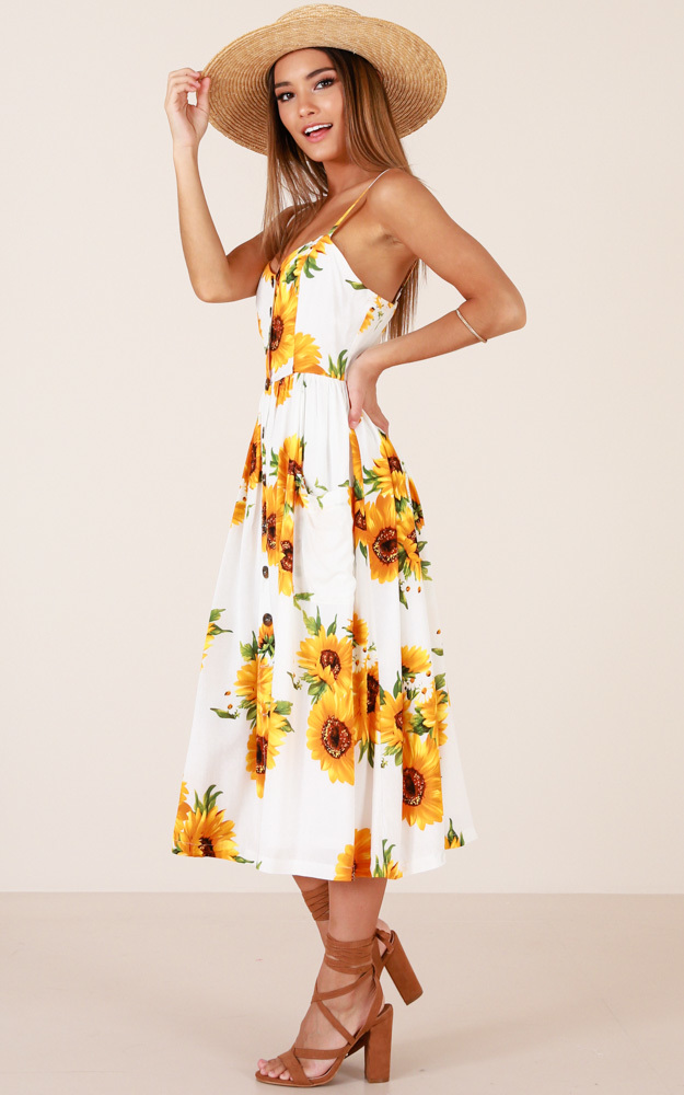 Love Story dress in white floral, Yellow, hi-res image number null