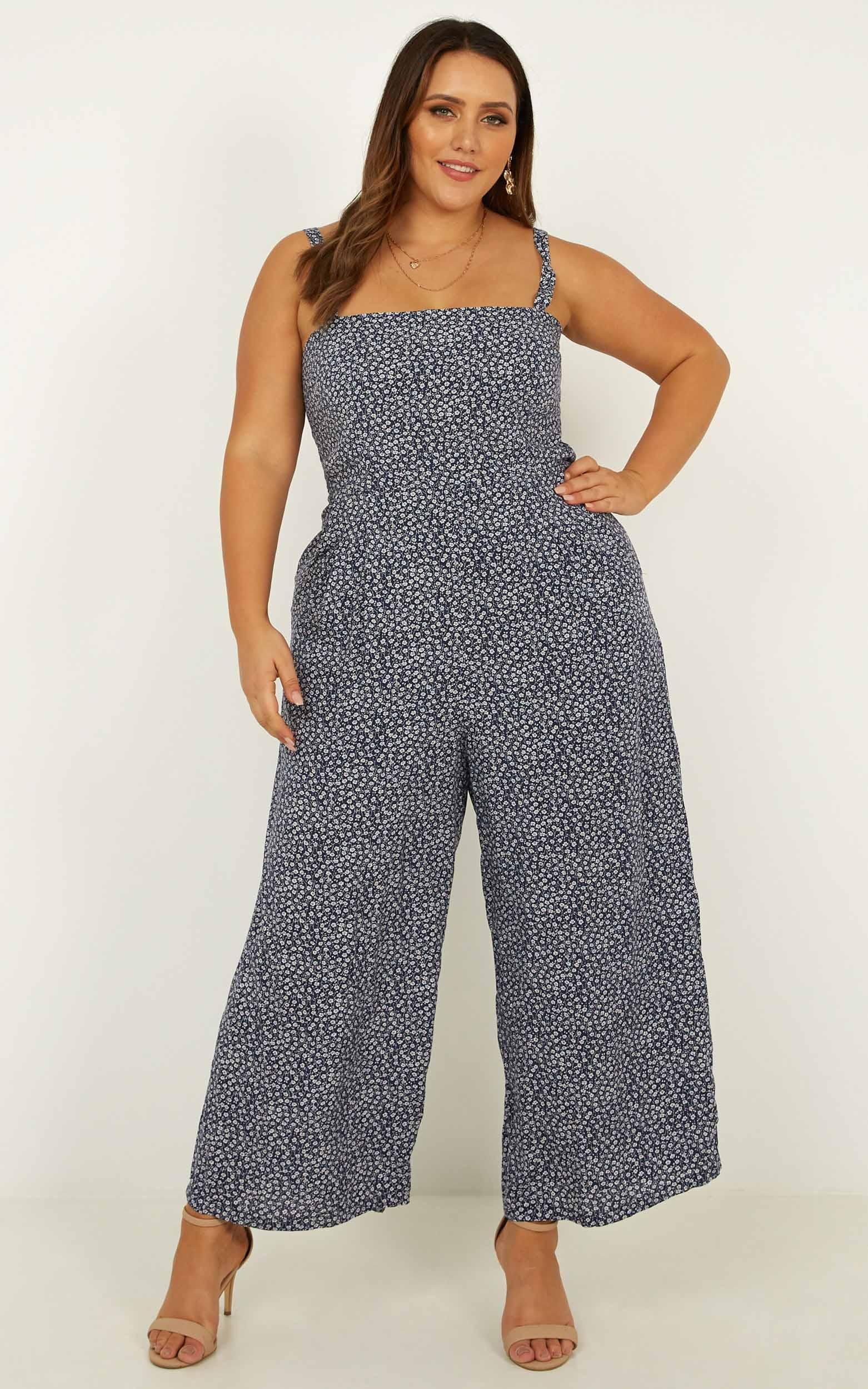 Life On The Road jumpsuit in navy floral - 6 (XS), Navy, hi-res image number null
