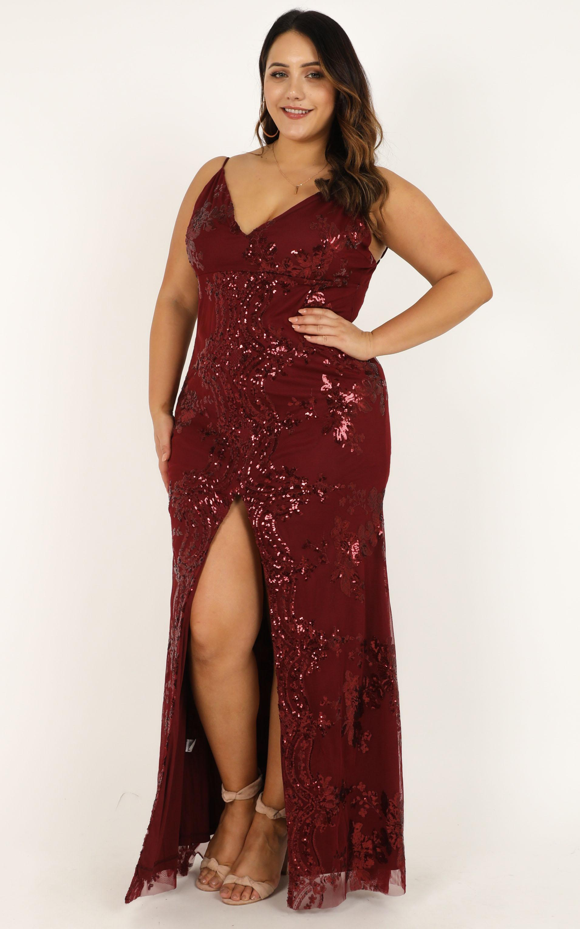 Long Line Of Love Dress in wine sequin - 20 (XXXXL), Wine, hi-res image number null