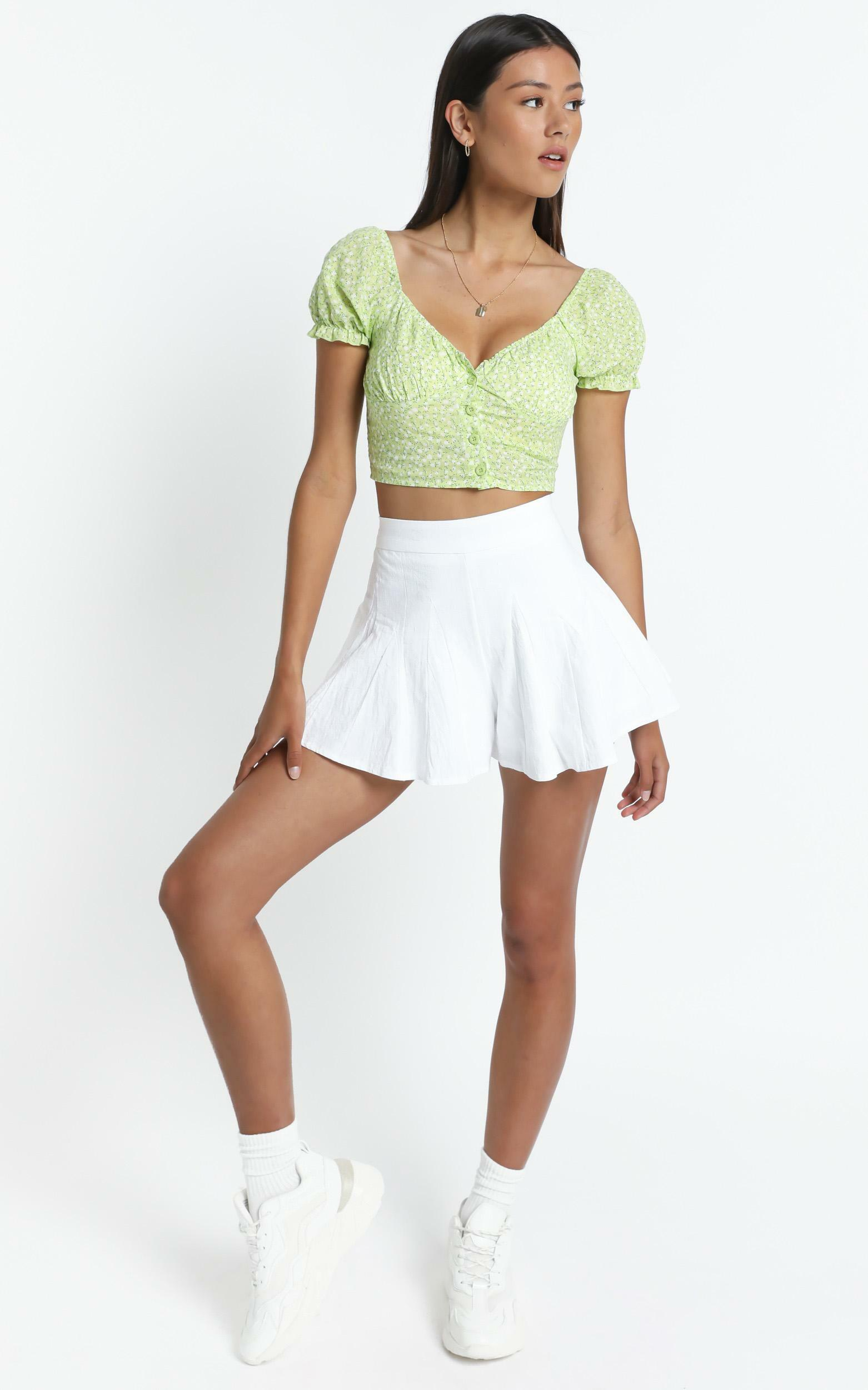 Mellor Top in Lime Floral - S, Green, hi-res image number null
