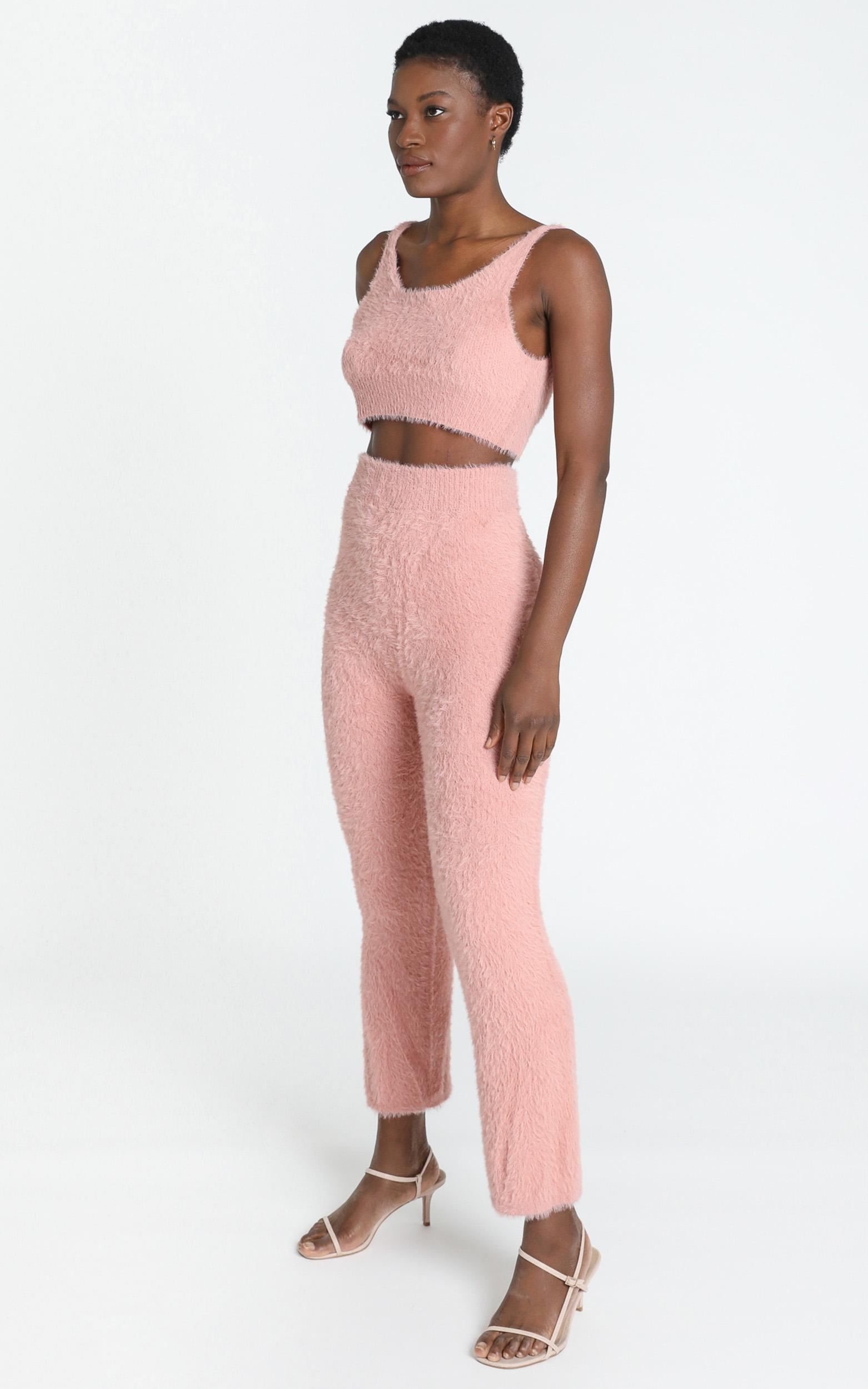 Athena Fluffy Knit Two Piece Set in Blush - S, Blush, hi-res image number null