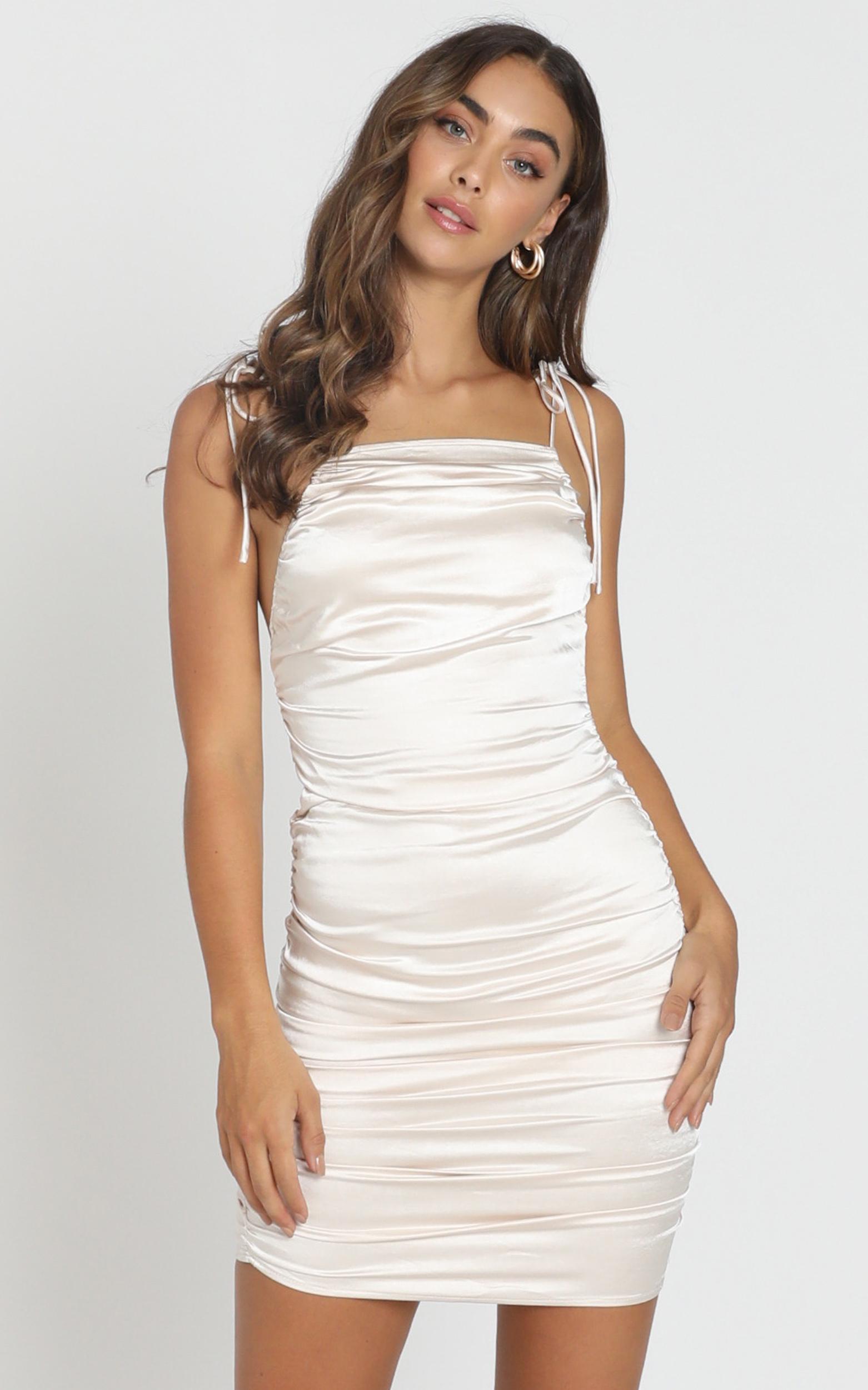 Lioness - Wild Wild West dress in cream satin - 6 (XS), Cream, hi-res image number null