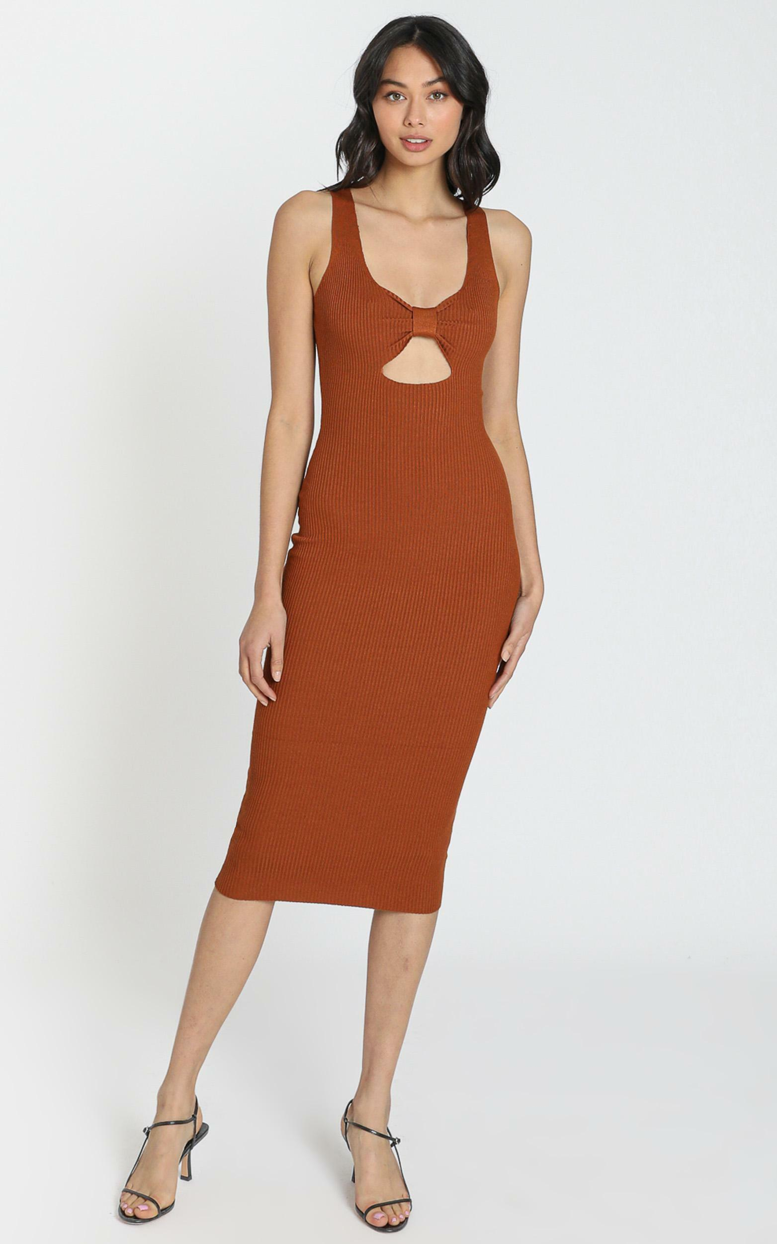 Laia Knit Rib Dress in Chocolate - S, Brown, hi-res image number null