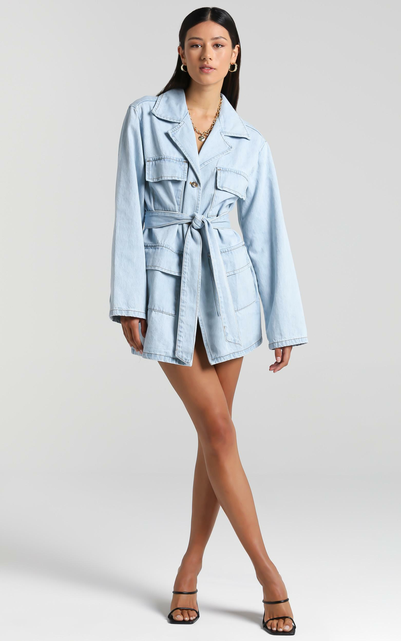 Lioness - Victory Boulevard Mini Dress in Light Wash - 6 (XS), Blue, hi-res image number null