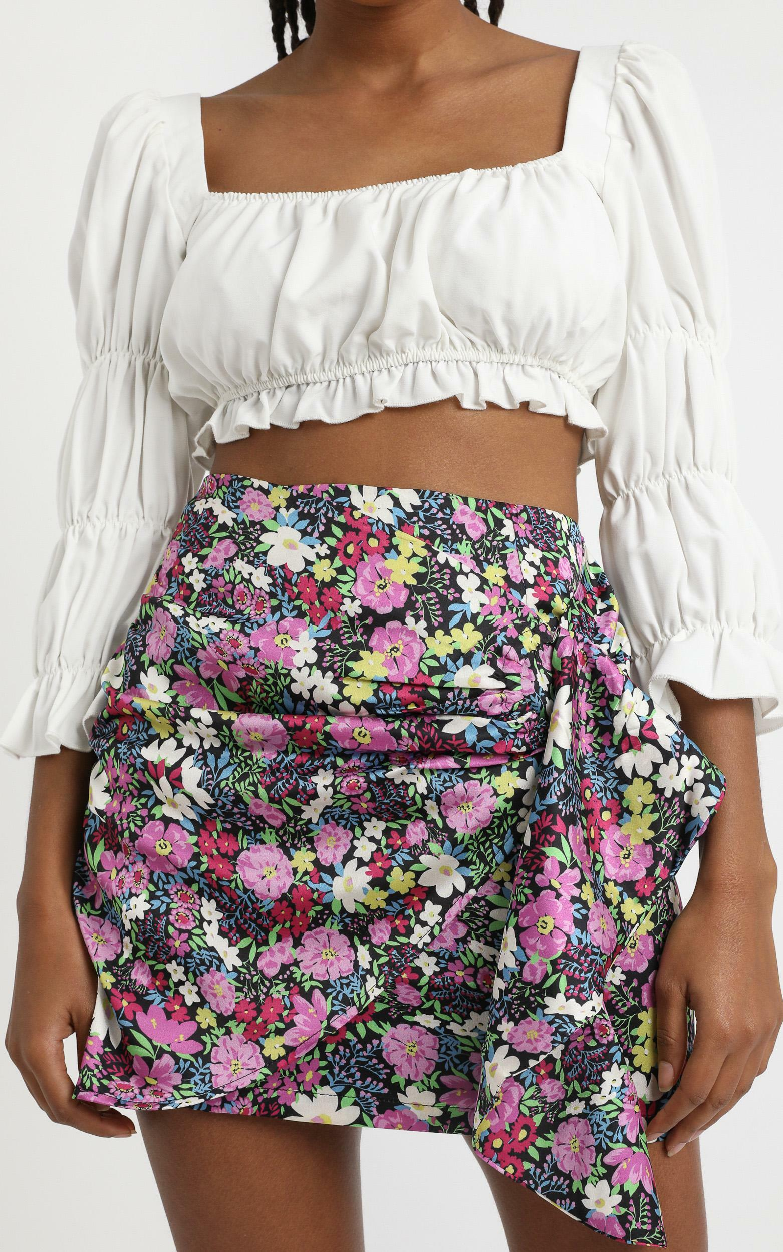 Becky Mini Skirt in forest floral - 4 (XXS), Purple, hi-res image number null