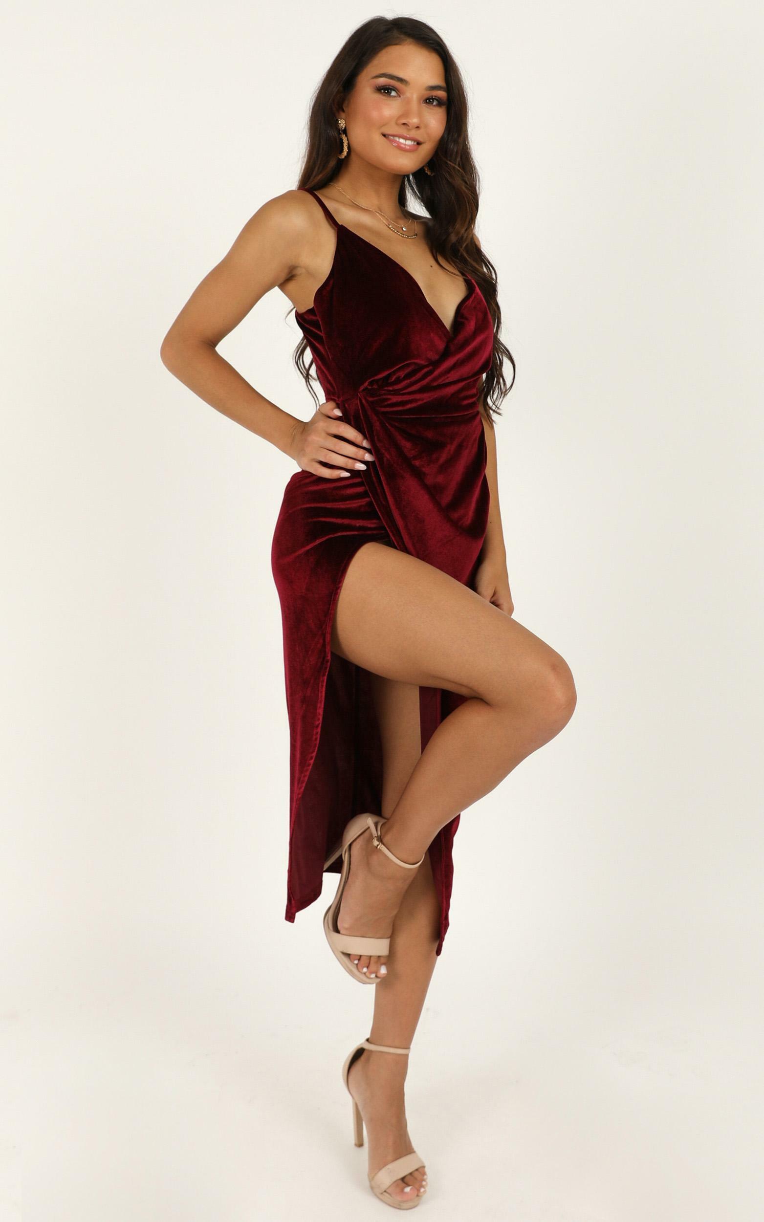 Loving Blind Dress in wine velvet - 14 (XL), Wine, hi-res image number null