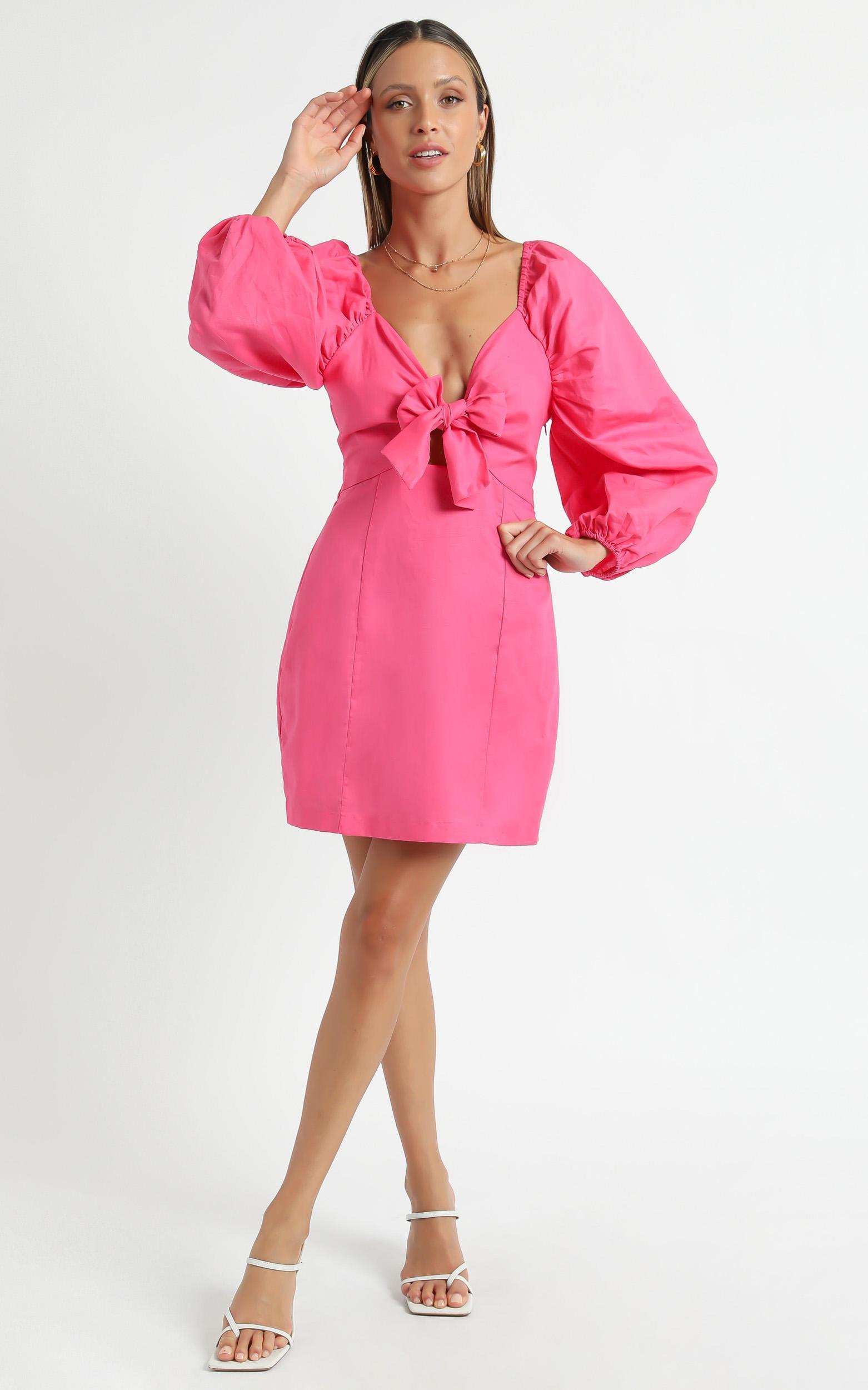 Minkpink - Aubrey Mini Dress in Hot Pink - XS, Pink, hi-res image number null