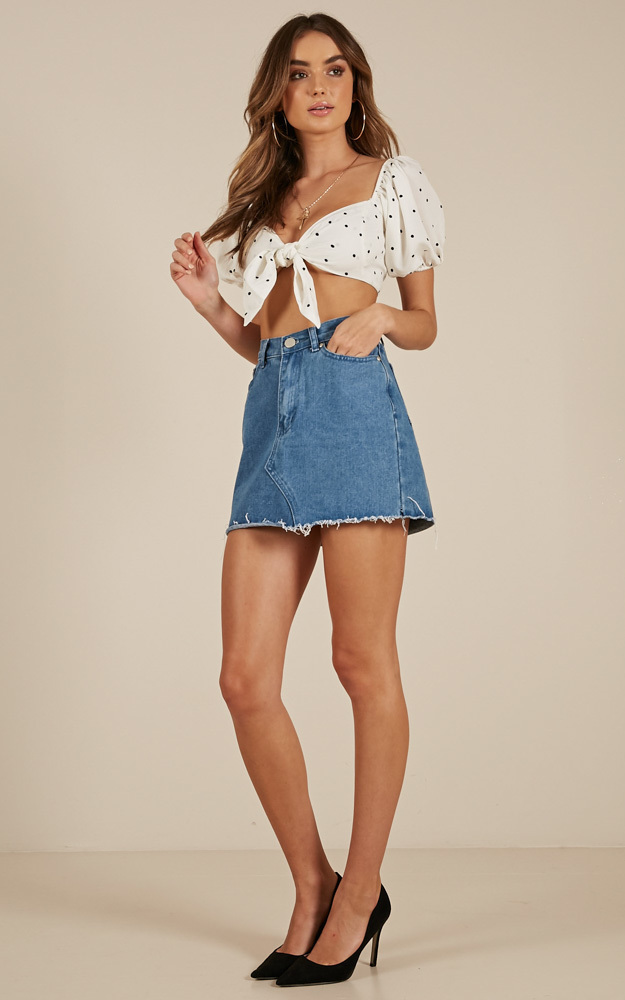 See Right Through Me top in white polkadot - 12 (L), White, hi-res image number null