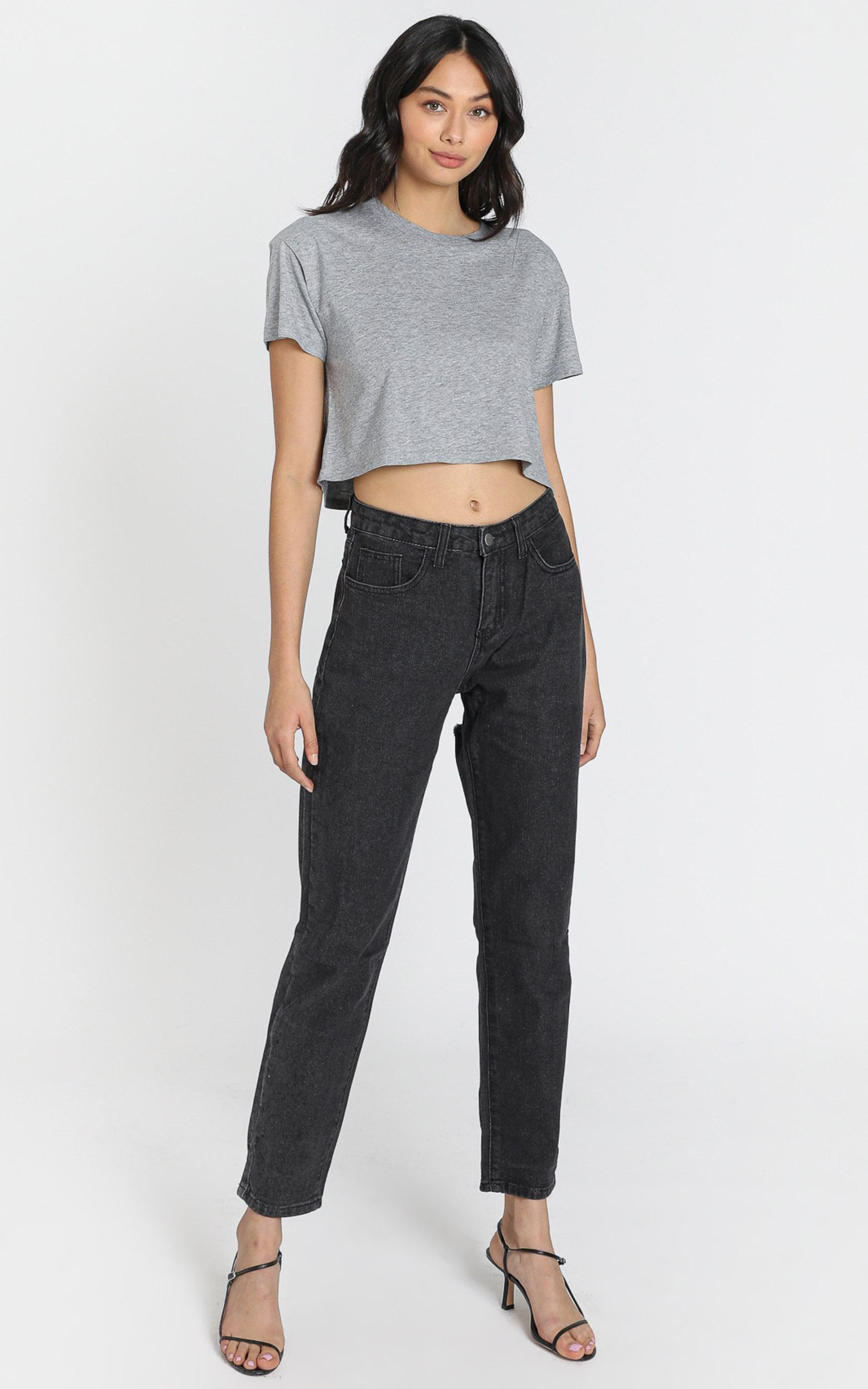 AS Colour - Crop Tee in Grey Marle - 6 (XS), Grey, hi-res image number null