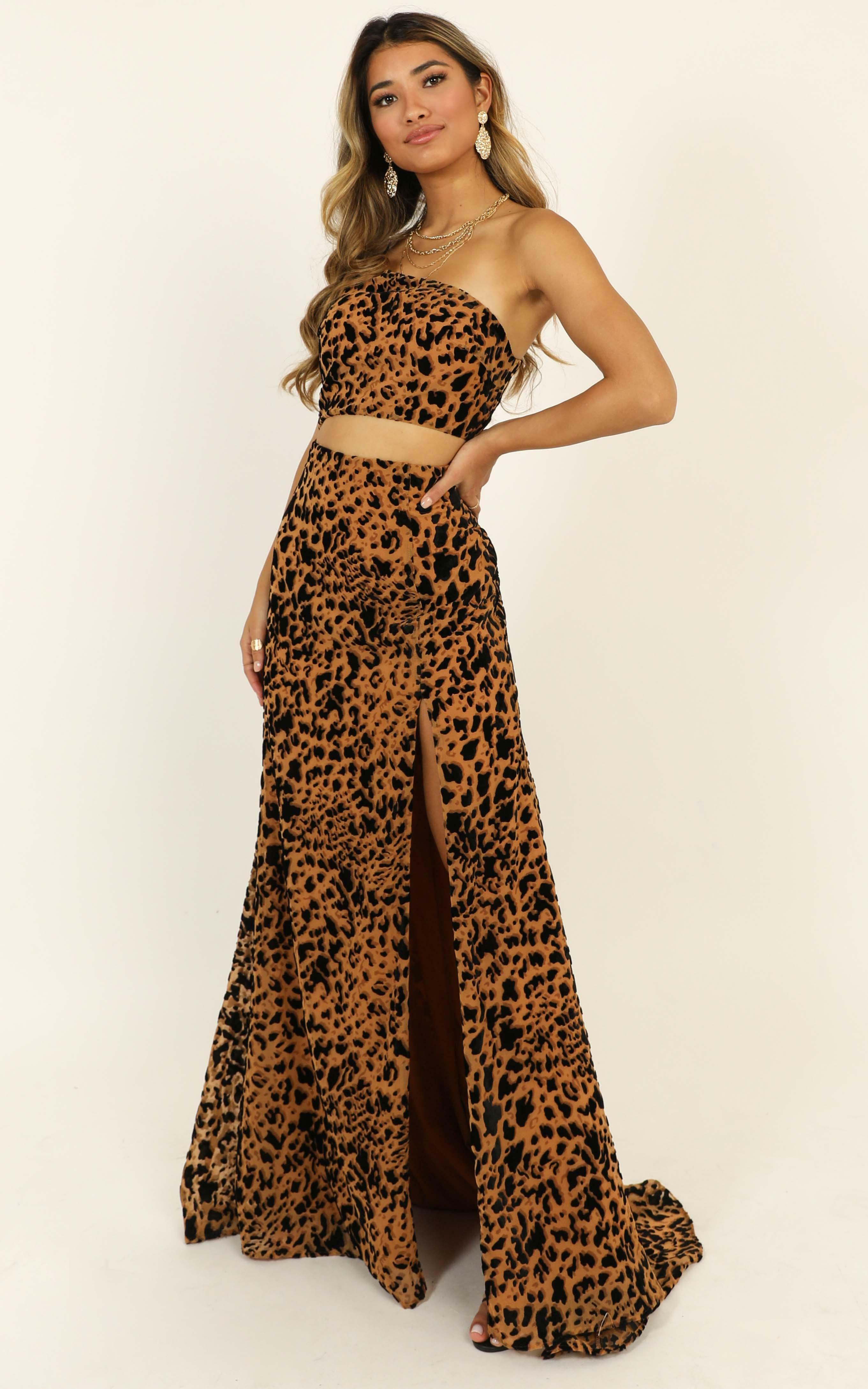 Midnight Dancer Maxi Dress in leopard print - 14 (XL), Brown, hi-res image number null