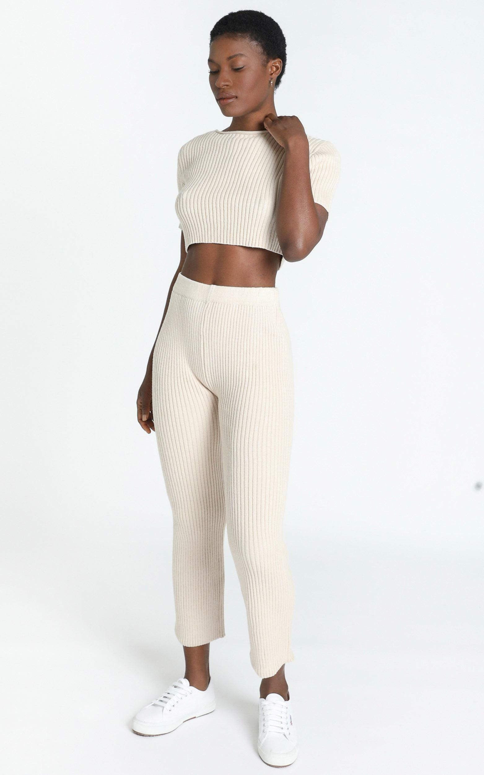 Mylah Two Piece Knit Set in Beige - 8 (S), Beige, hi-res image number null