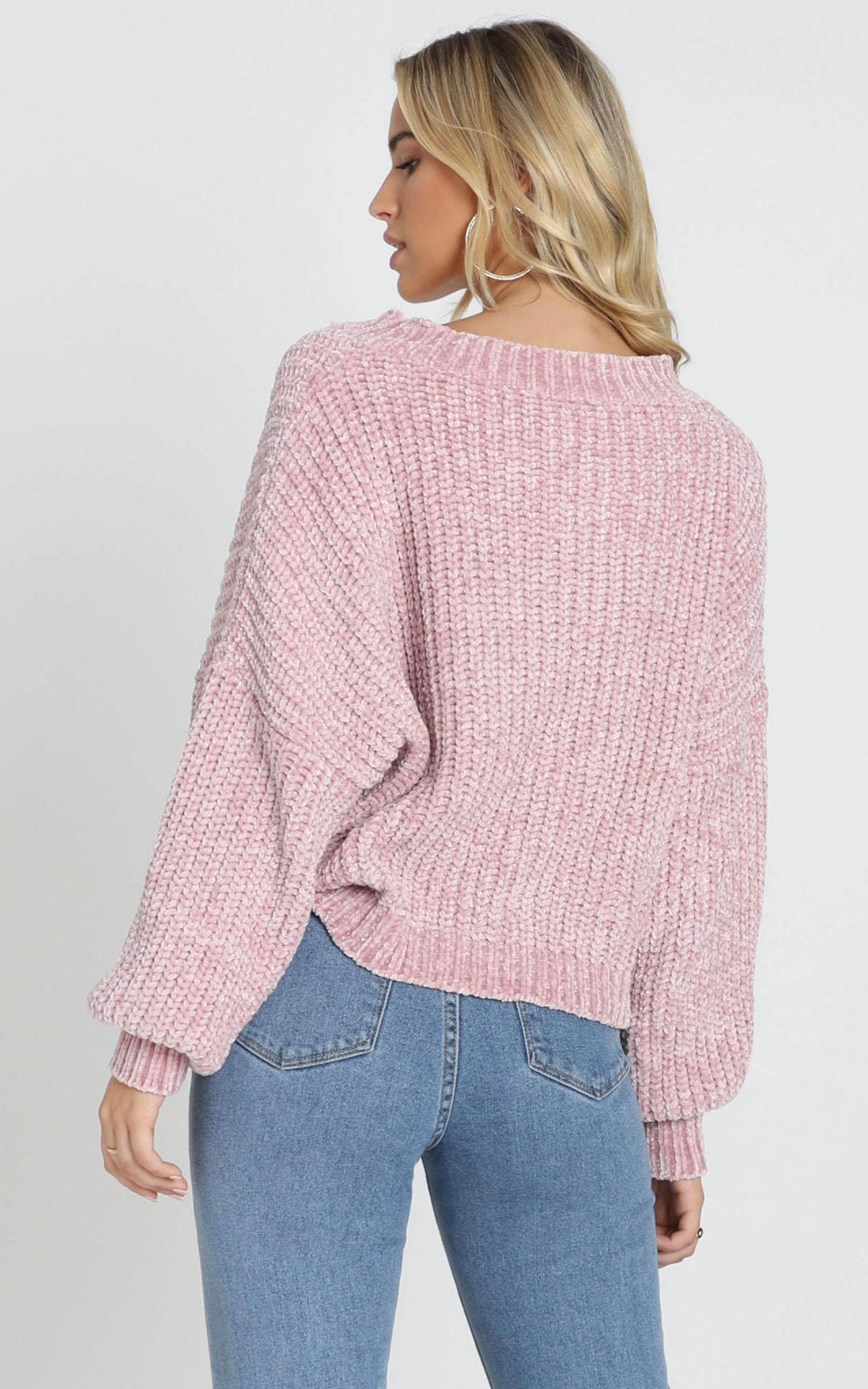Little Do You Know knit sweater in mauve chenille - M/L, Mauve, hi-res image number null