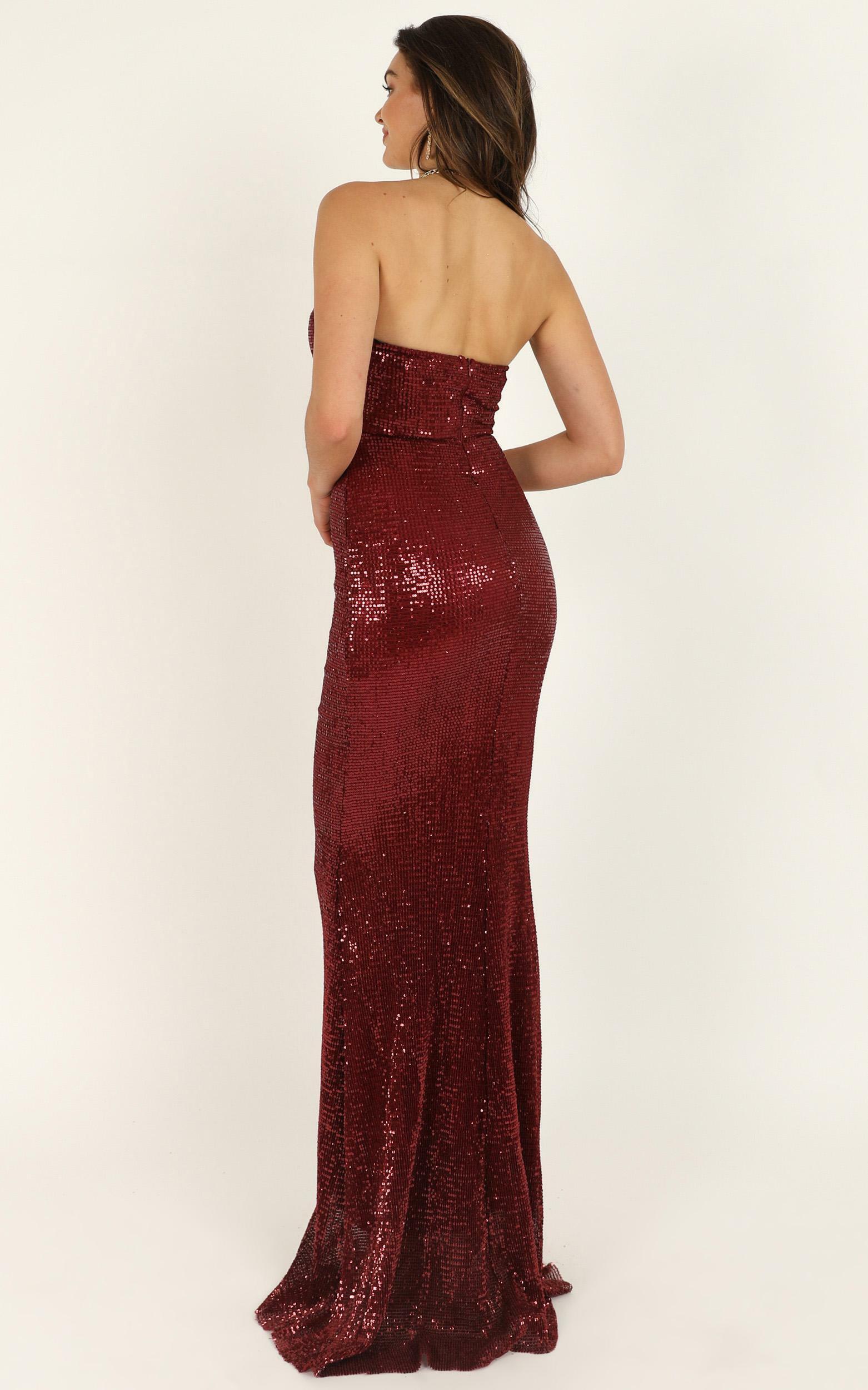 Sky Of Sparklers dress in wine sequin - 12 (L), Wine, hi-res image number null