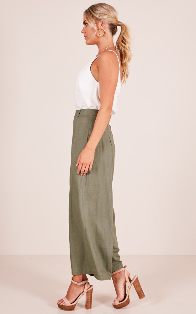 All She Wants pants in khaki linen look - 12 (L), Khaki, hi-res image number null