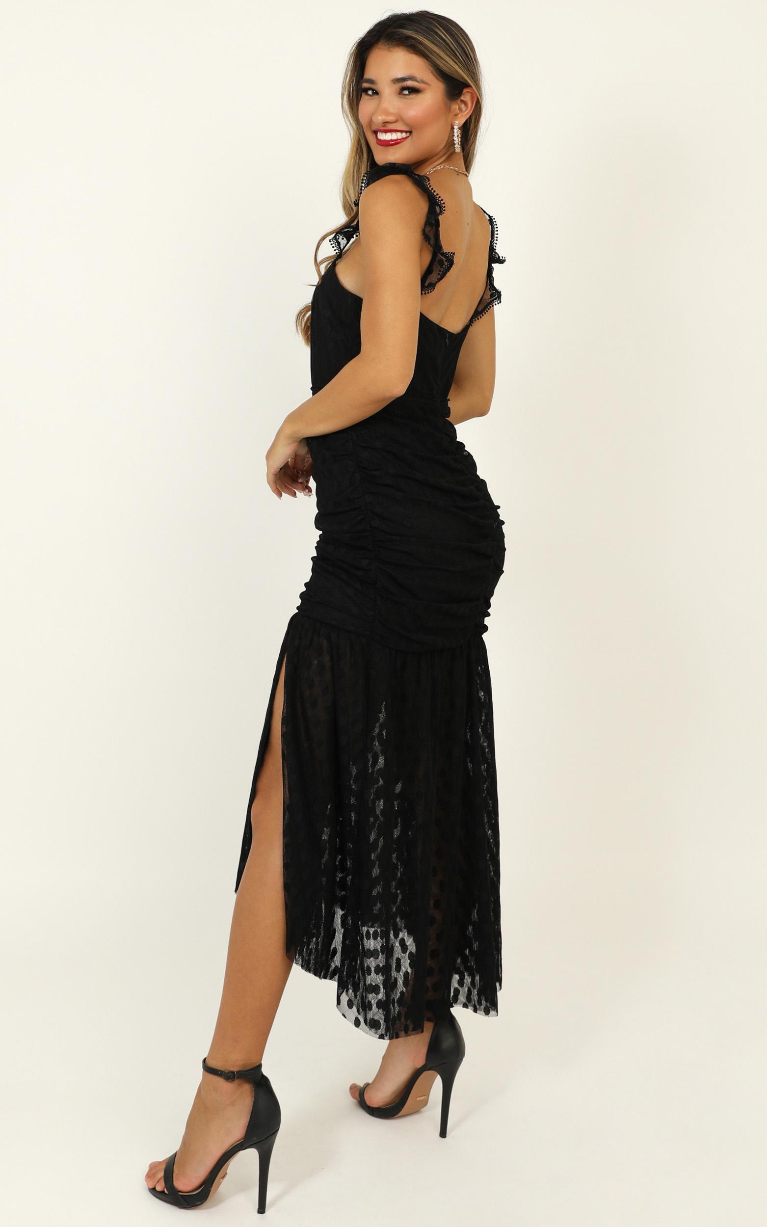How Do You Wonder Dress in black mesh polka - 20 (XXXXL), Black, hi-res image number null