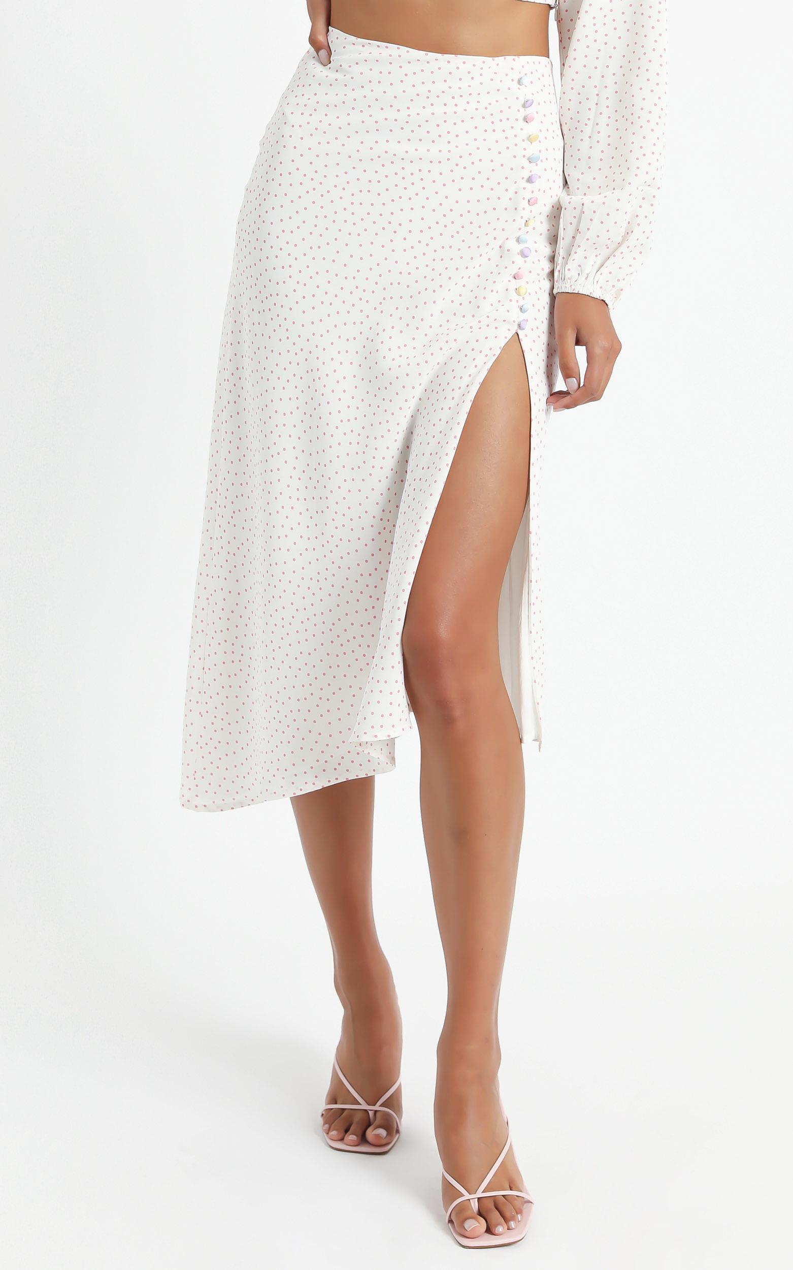 Kailu Skirt in Pink Polka Dot - 6 (XS), Pink, hi-res image number null