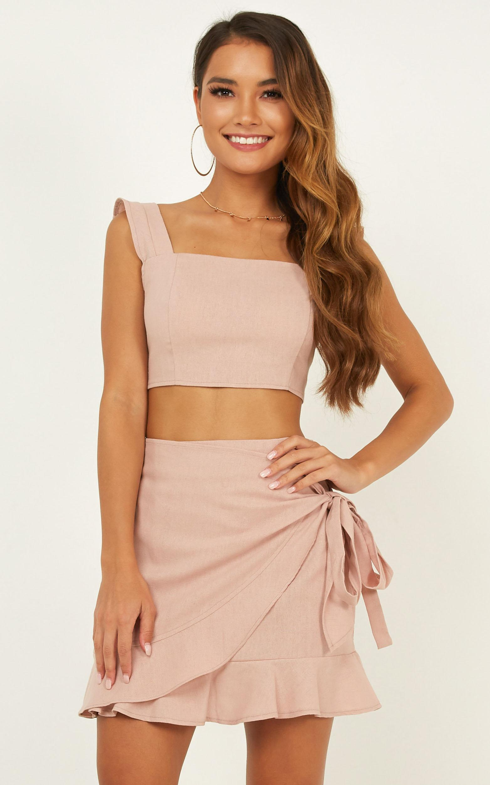 Royal Power two piece set in blush linen look - 20 (XXXXL), Blush, hi-res image number null