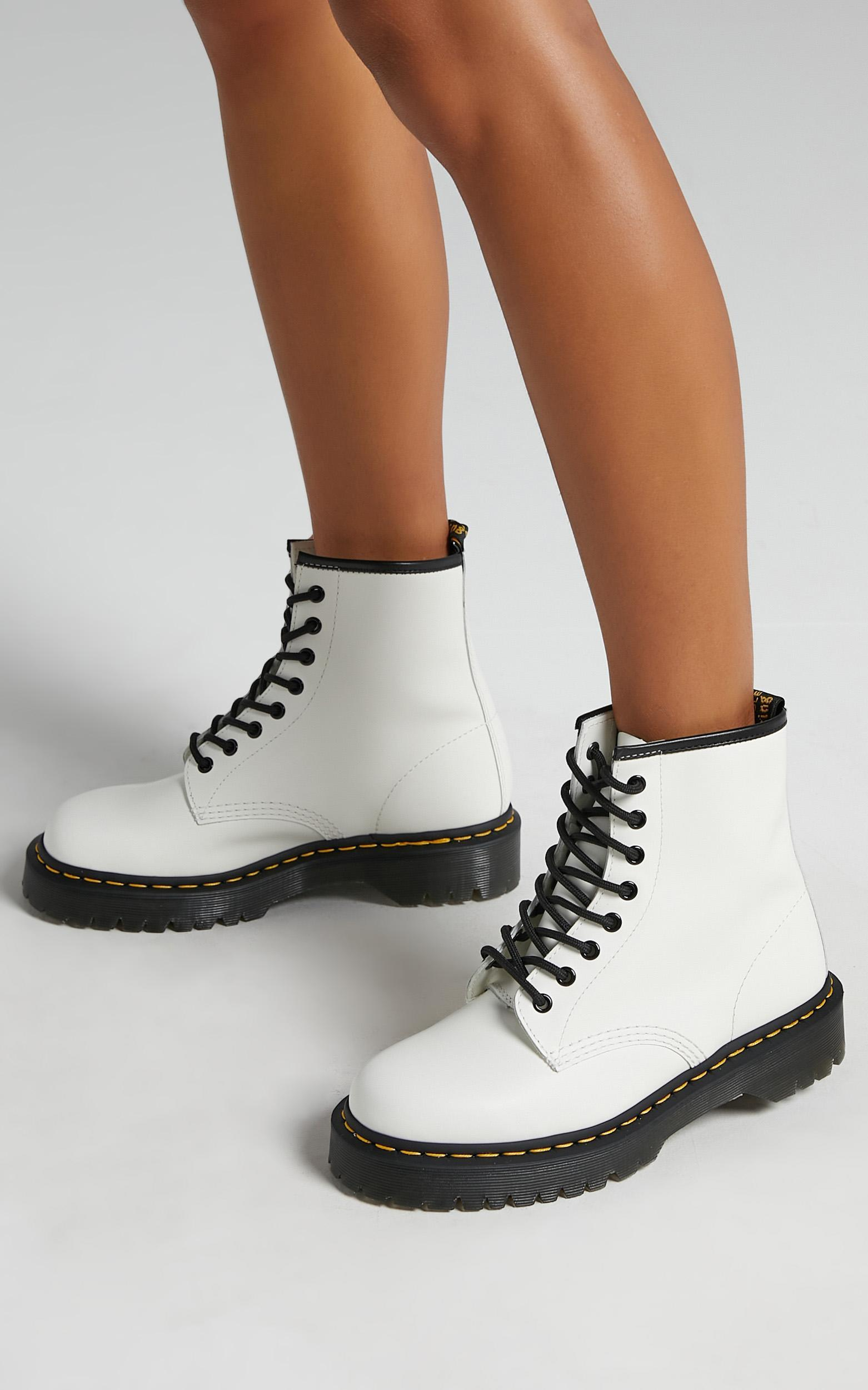 Dr. Martens - 1460 Bex 8 Eye Boot in White Smooth - 5, White, hi-res image number null