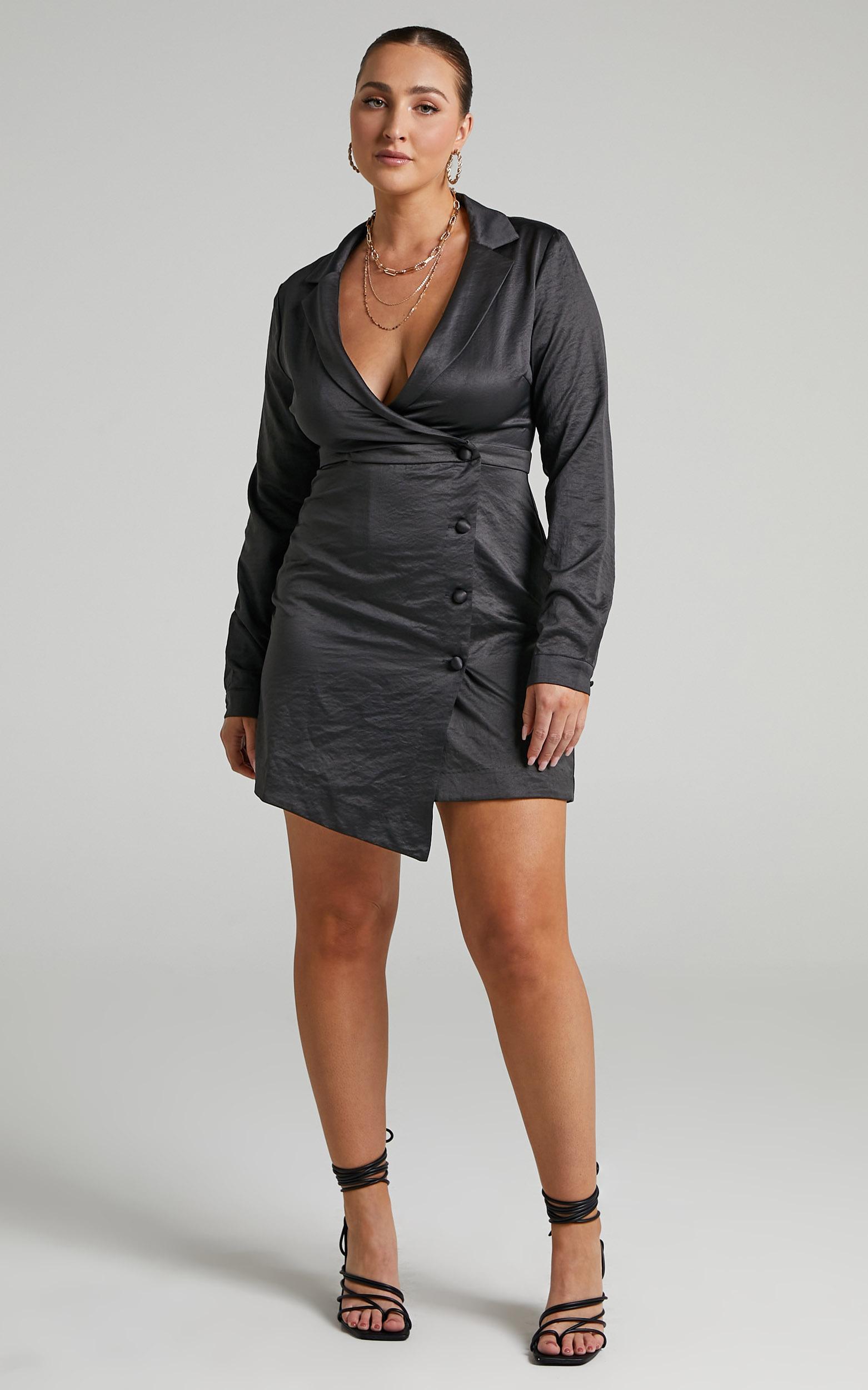 Nevie Wrap Style Blazer Dress in Black - 04, BLK1, hi-res image number null