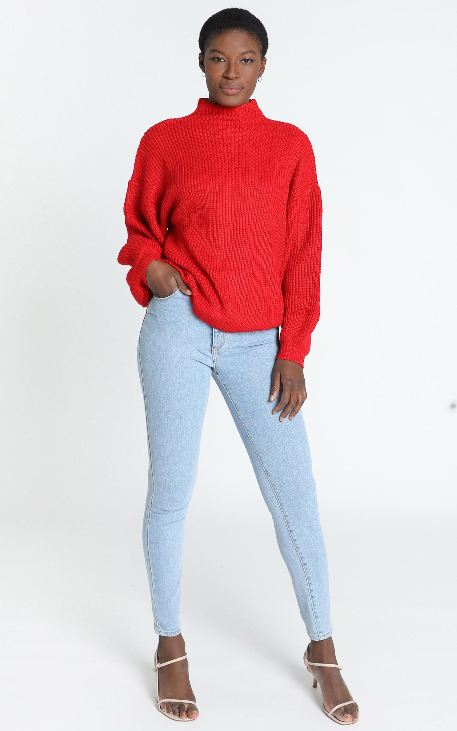 I Feel Love Oversized Knit Jumper in red - 8 (S), Red, hi-res image number null