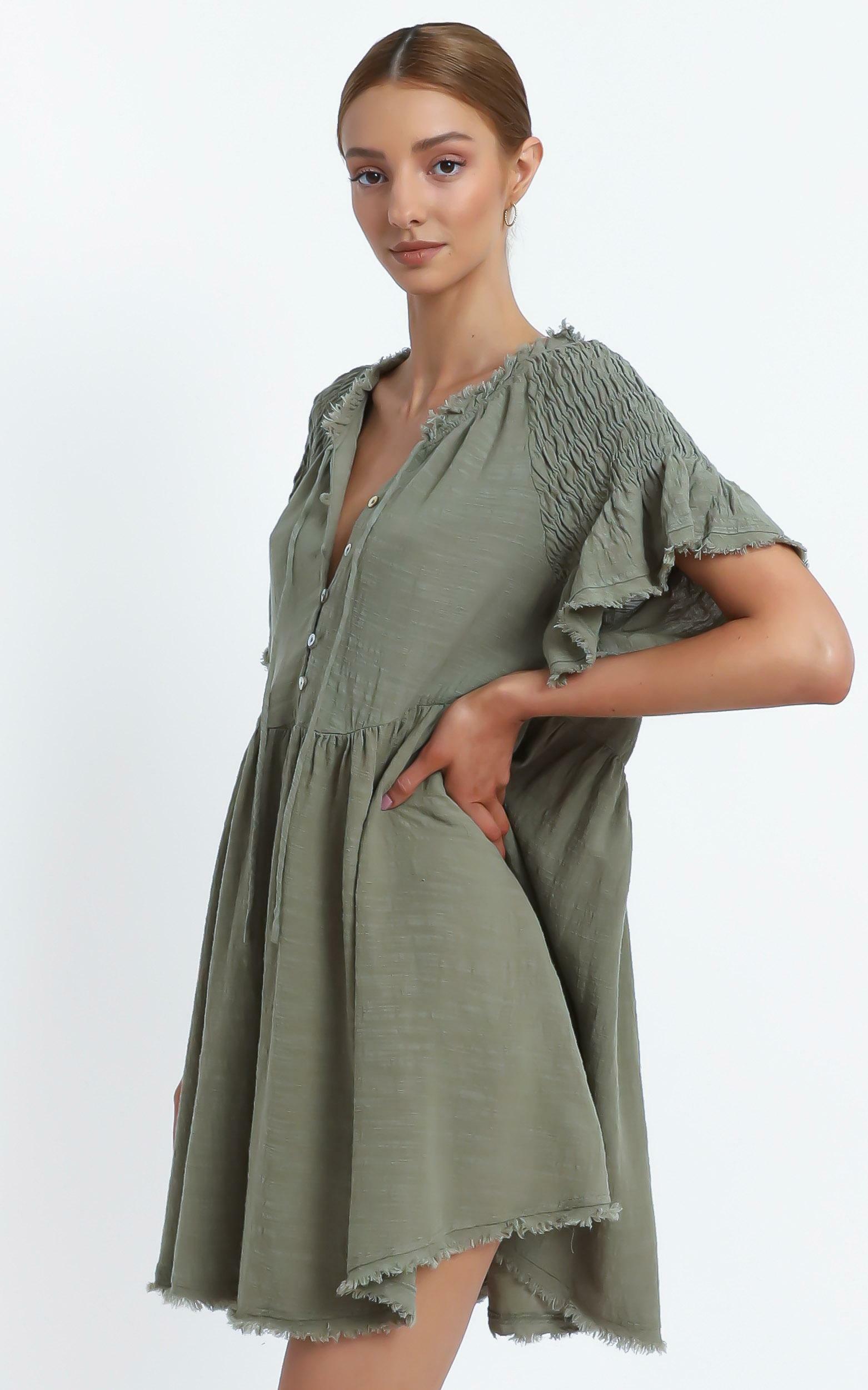 Lia Dress in Khaki - 14 (XL), Khaki, hi-res image number null