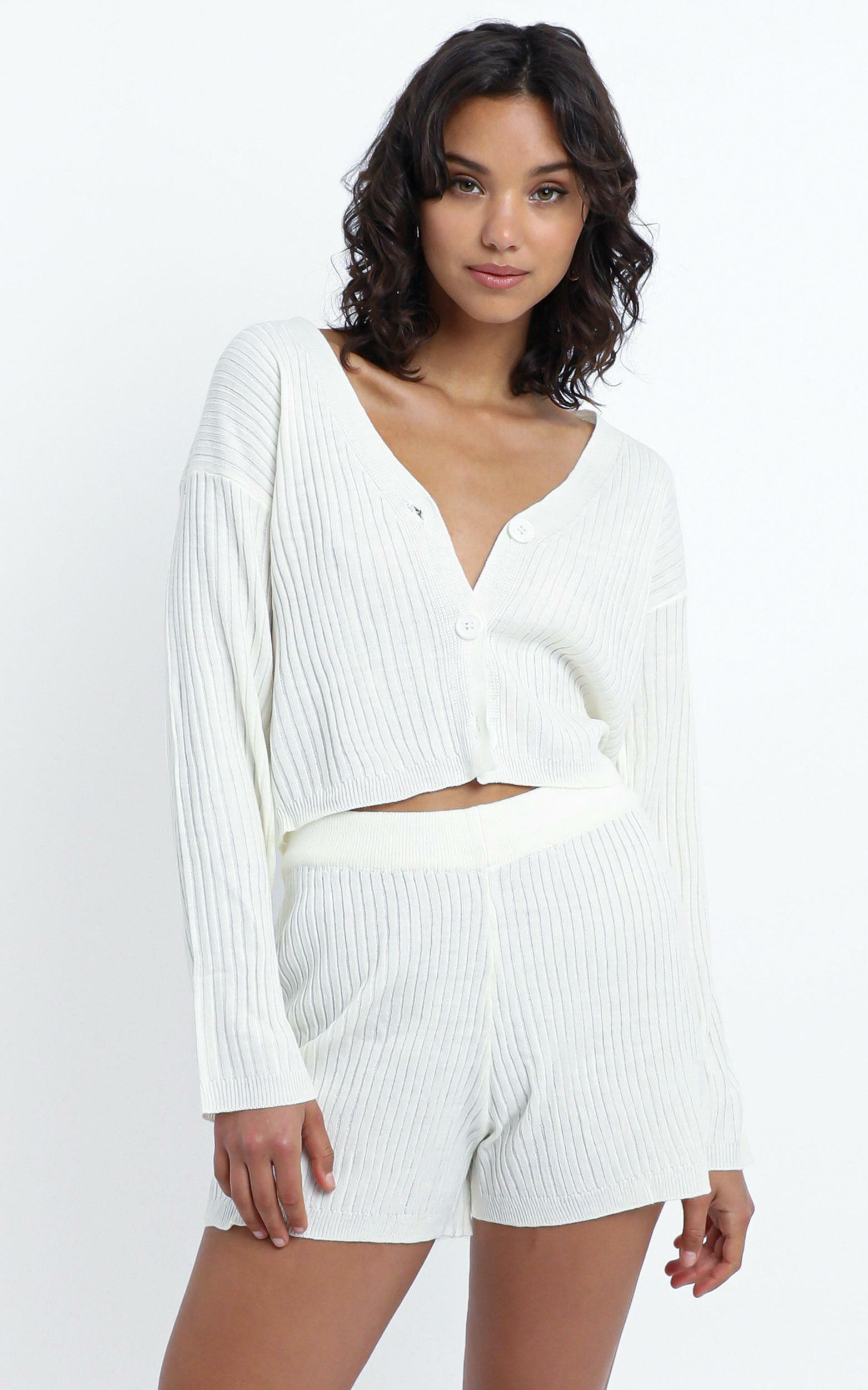 Carrigan Knit Two Piece Set in White - L, White, hi-res image number null