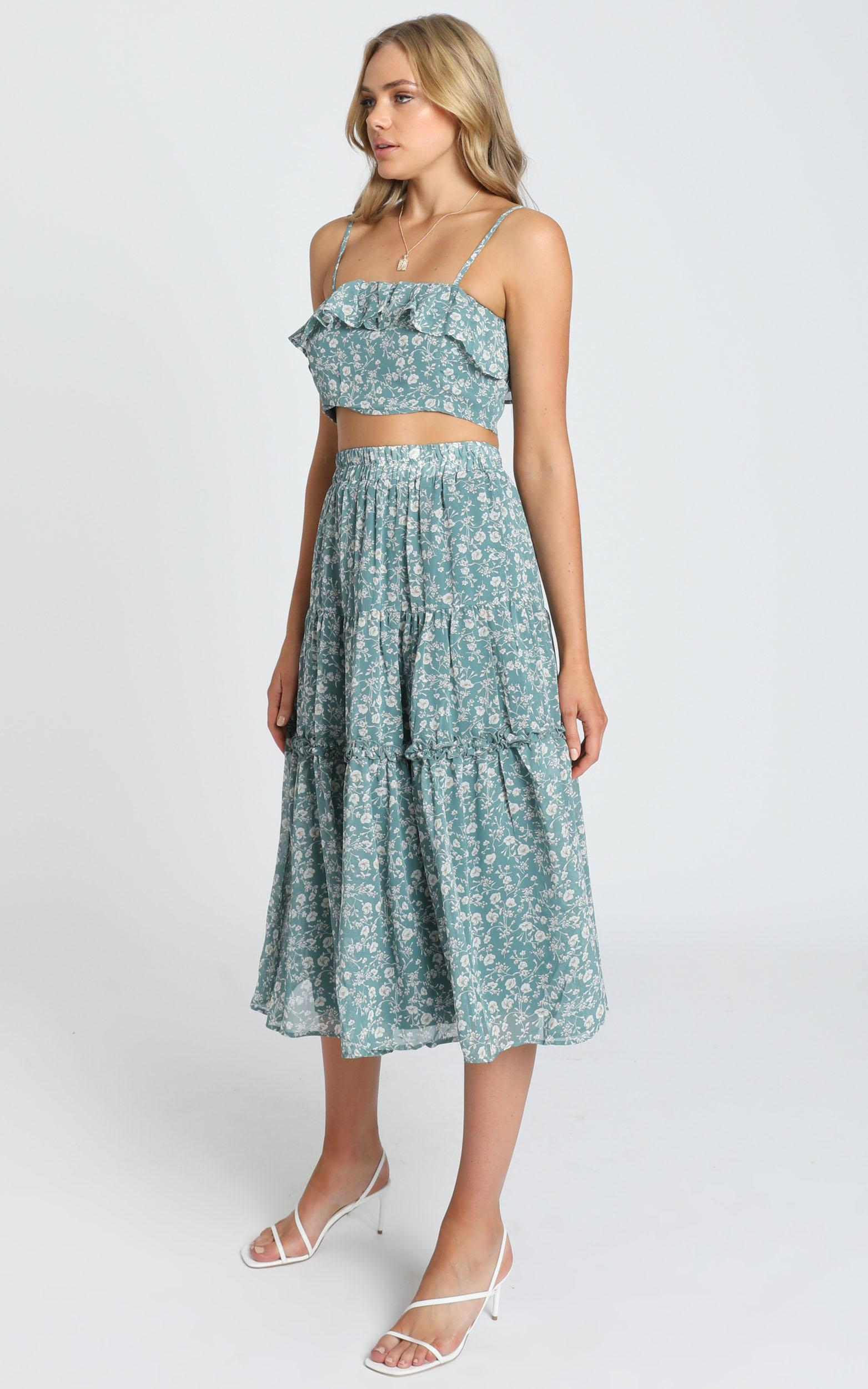 Cosmic Girl Skirt in teal floral - 8 (S), Green, hi-res image number null