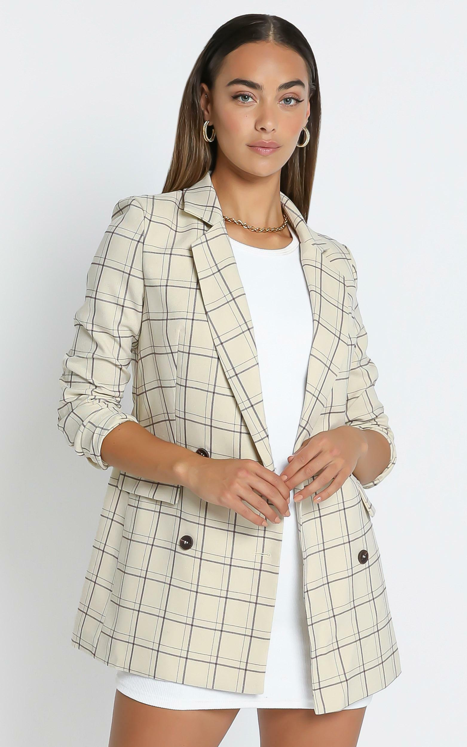 Sort It Out Blazer in Cream Check - 04, CRE4, hi-res image number null