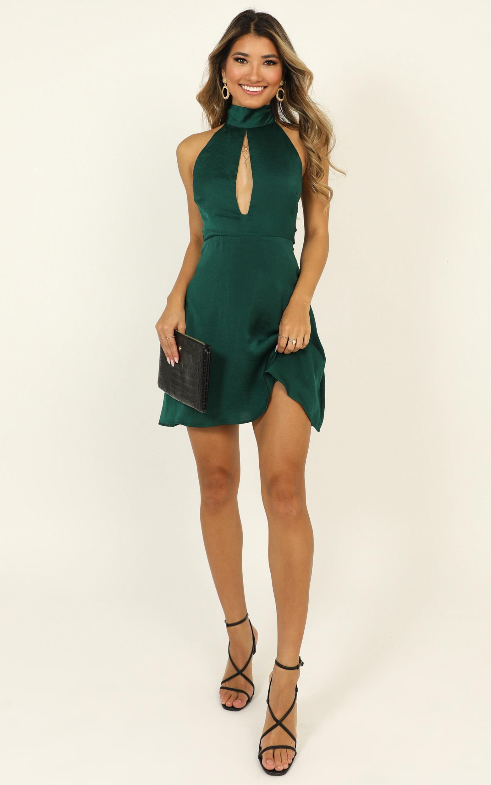 Dont You Dress in emerald satin - 14 (XL), Green, hi-res image number null