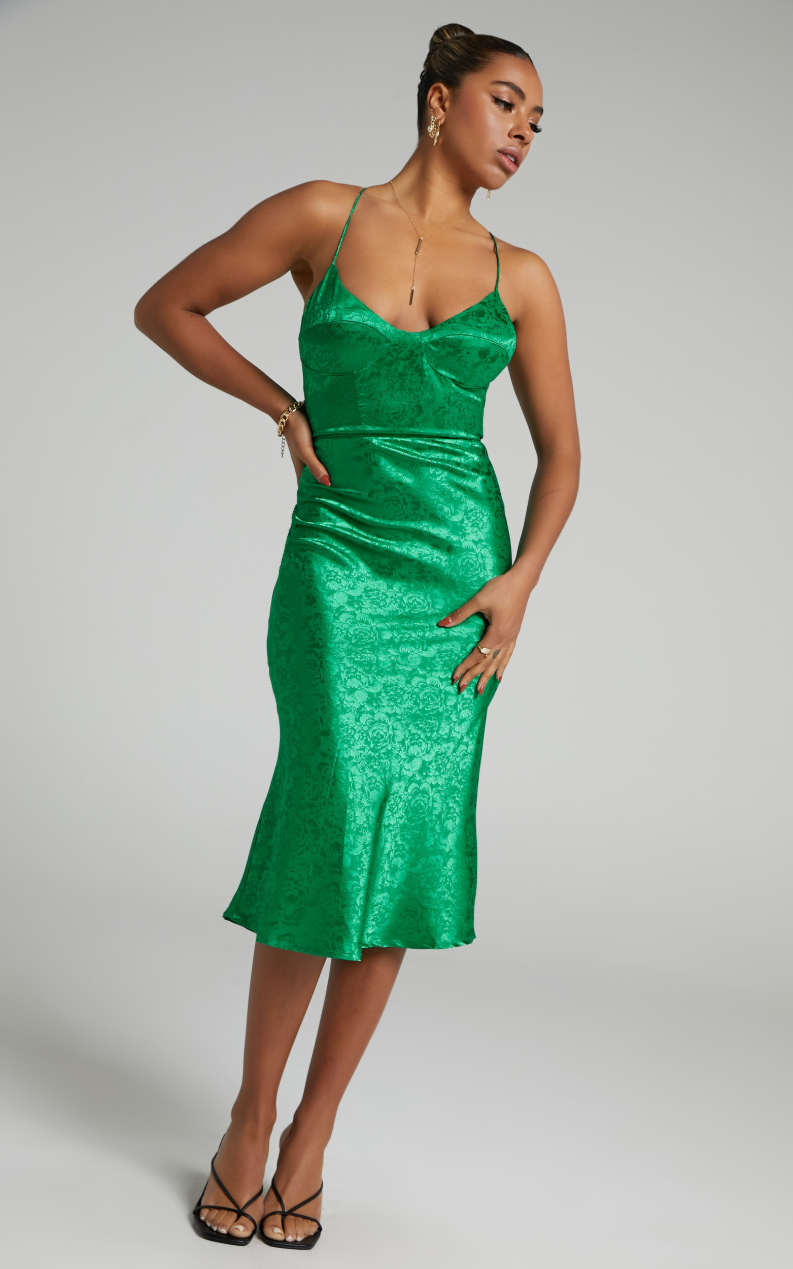 Runaway The Label - Electra Slip Dress in Green - L, GRN2, hi-res image number null