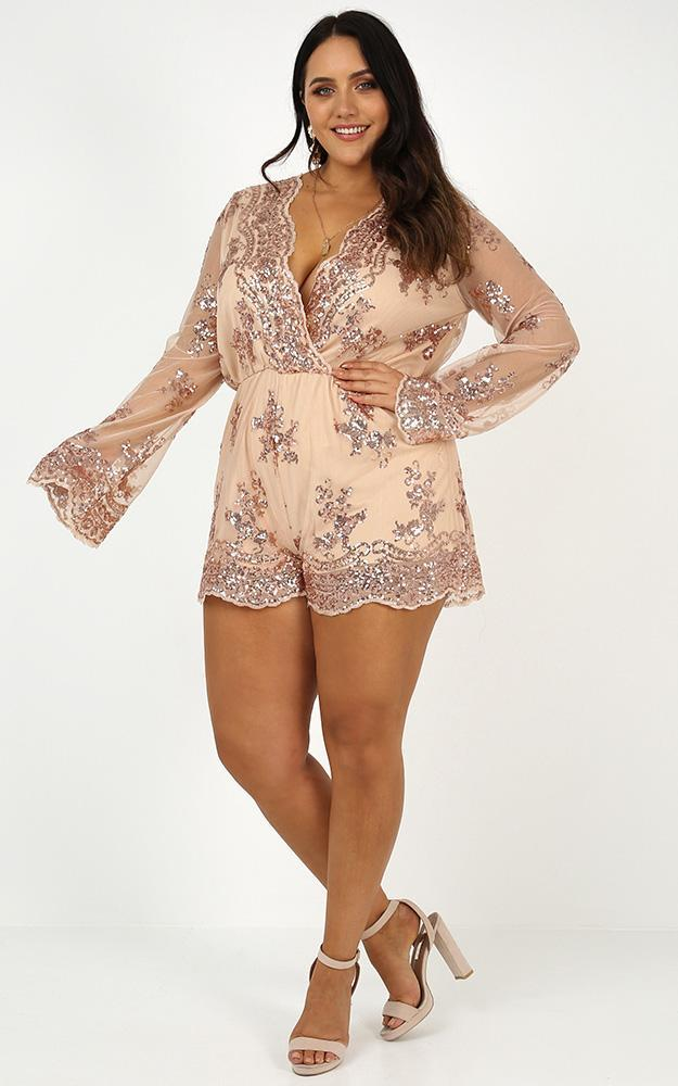 On Call playsuit in rose gold sequin - 20 (XXXXL), Gold, hi-res image number null