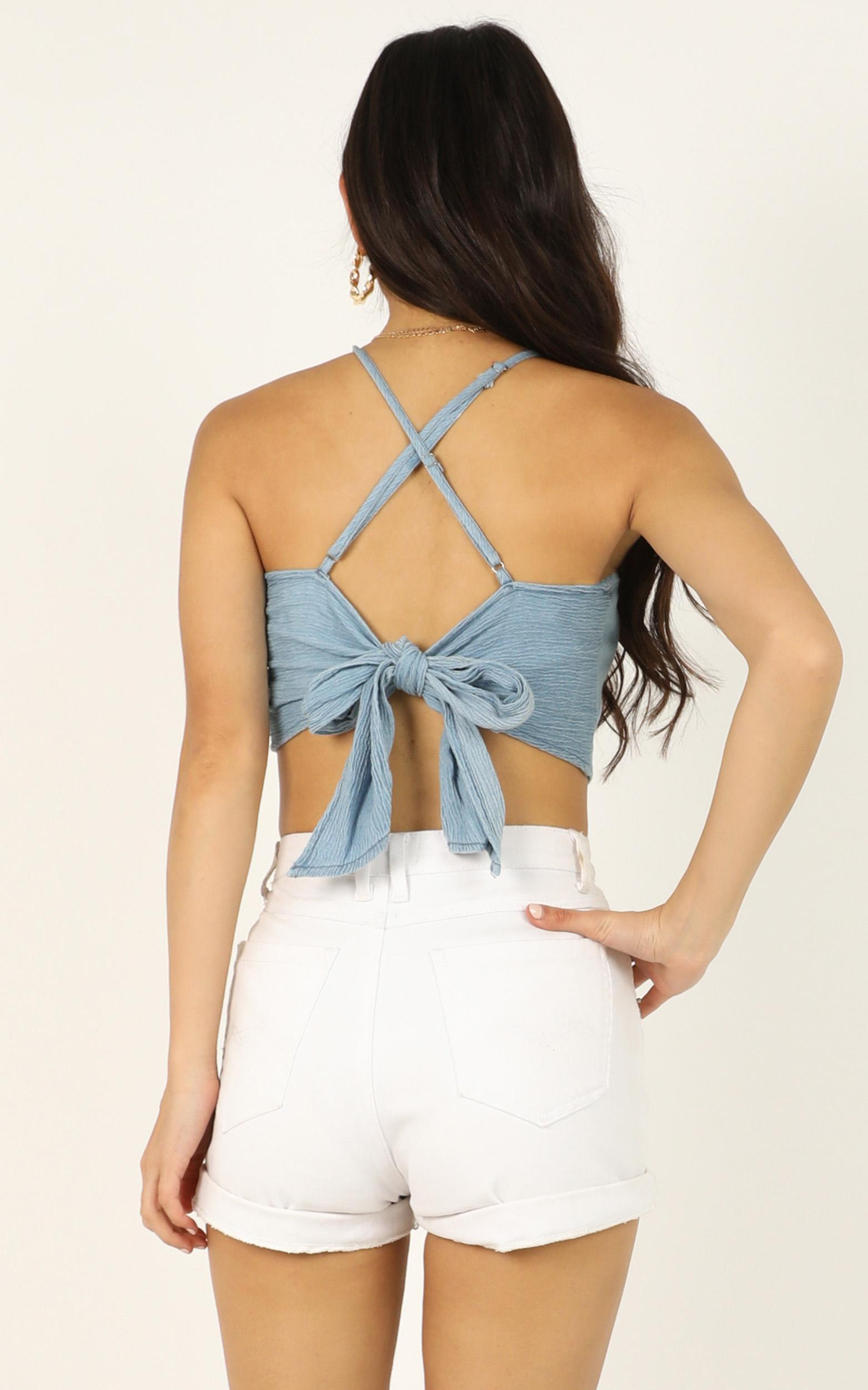 Dont Pretend top in chambray - 12 (L), Blue, hi-res image number null