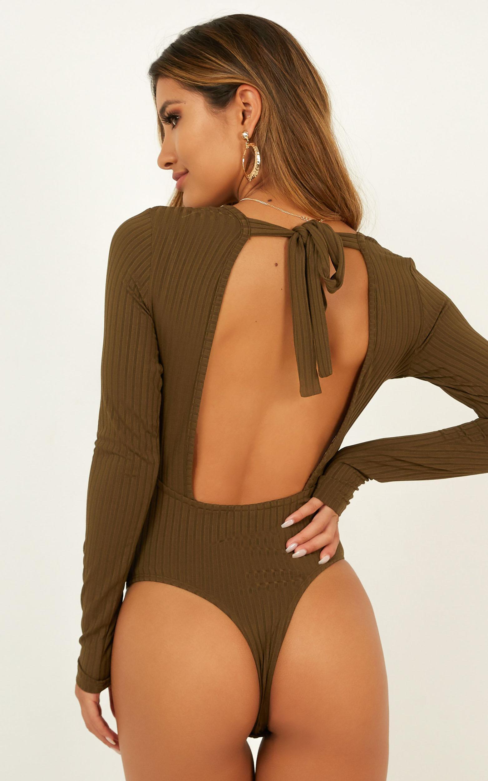 Keeping It Sweet Bodysuit In Khaki - 4 (XXS), Khaki, hi-res image number null