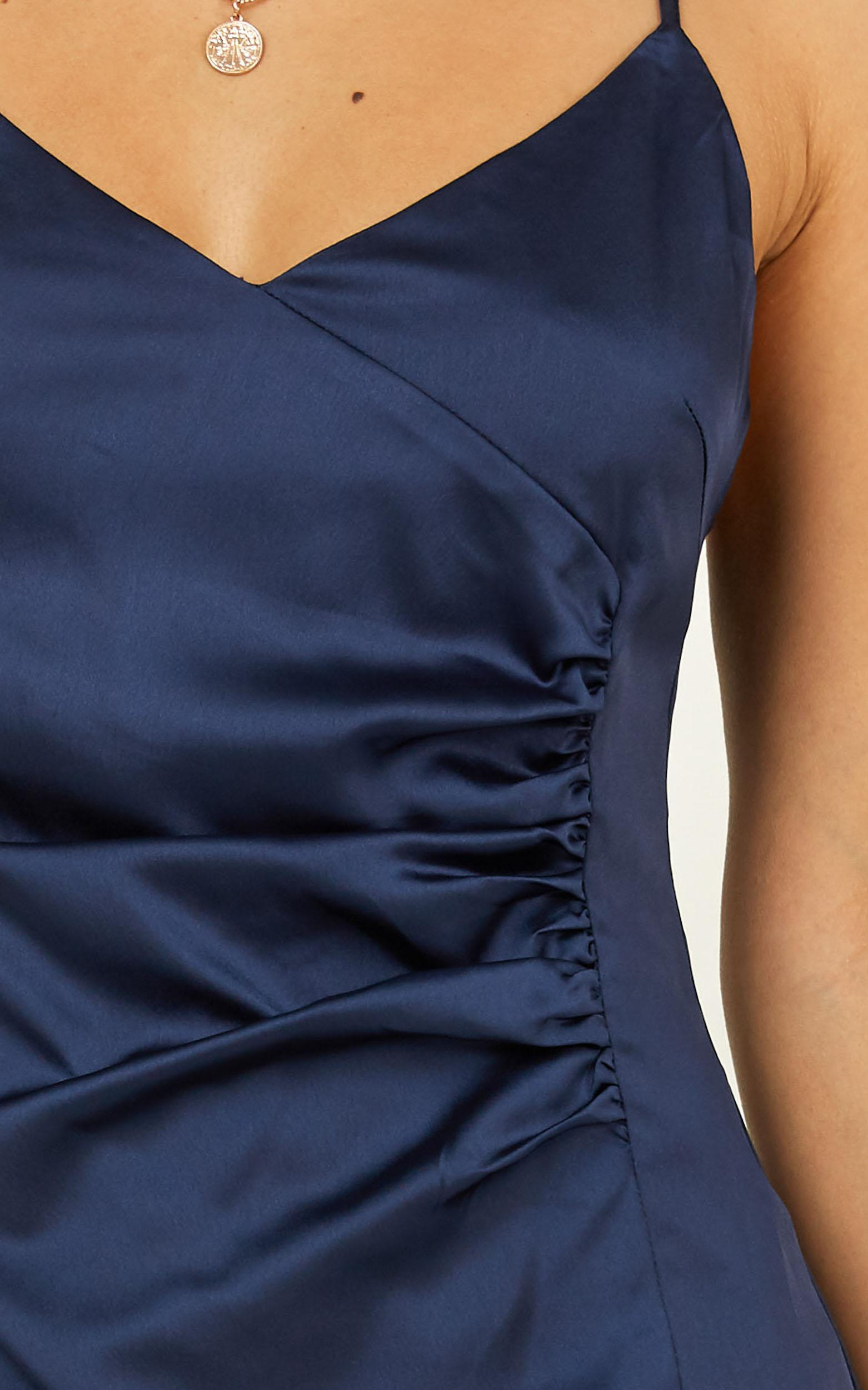 Saw The Light Dress In Navy Satin - 4 (XXS), Navy, hi-res image number null
