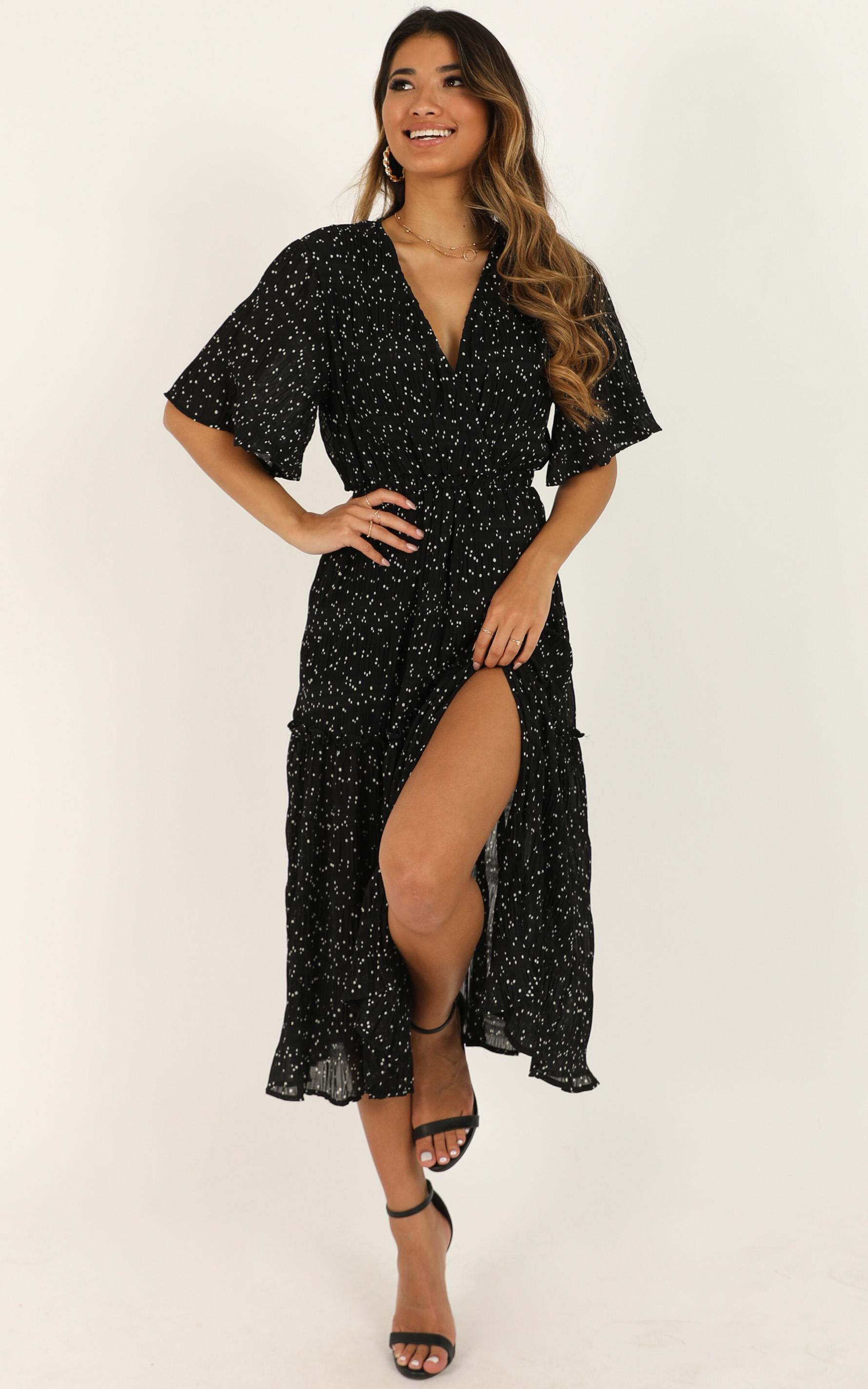 Remi Dress in Black Spot, Black, hi-res image number null