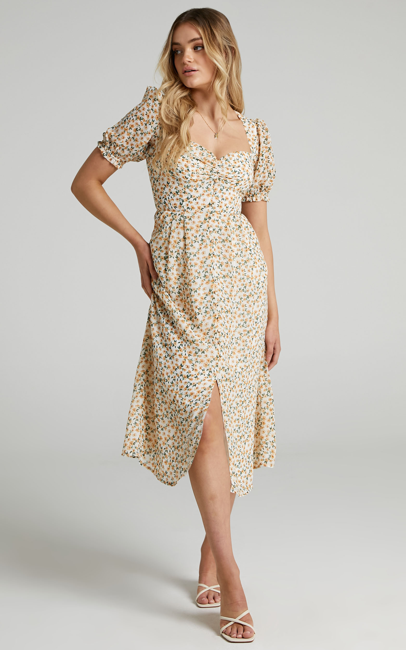 Seven Wonders - Yasmine Midi Dress in Yellow Floral - L, MLT1, hi-res image number null