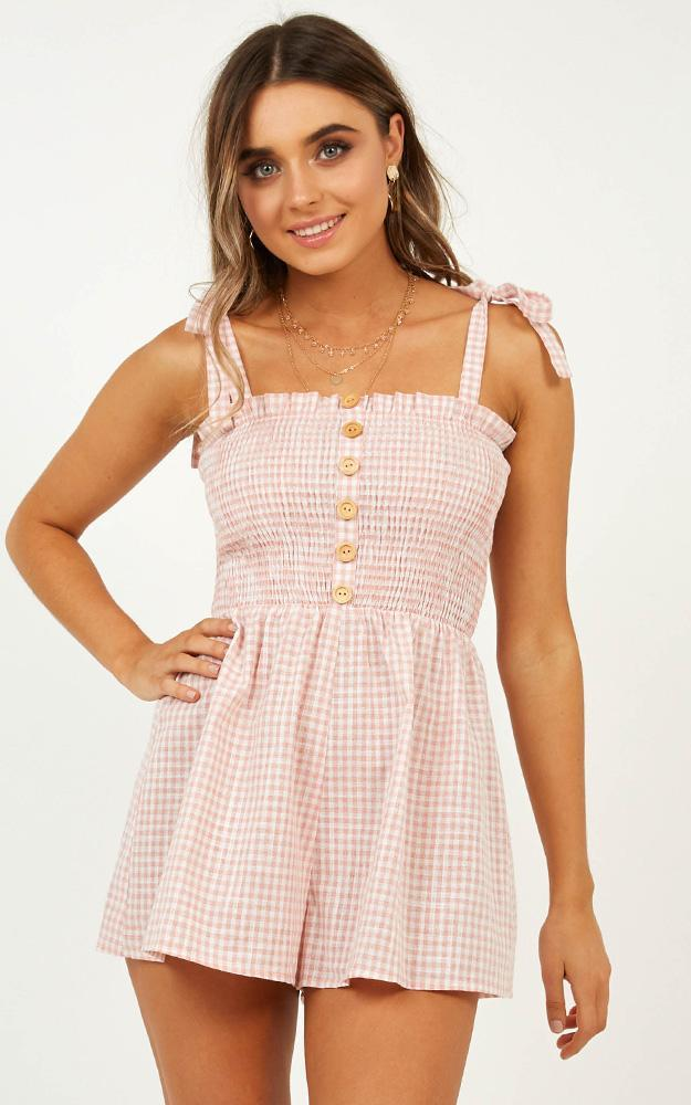Her Passion Playsuit in Pink gingham - 12 (L), Pink, hi-res image number null