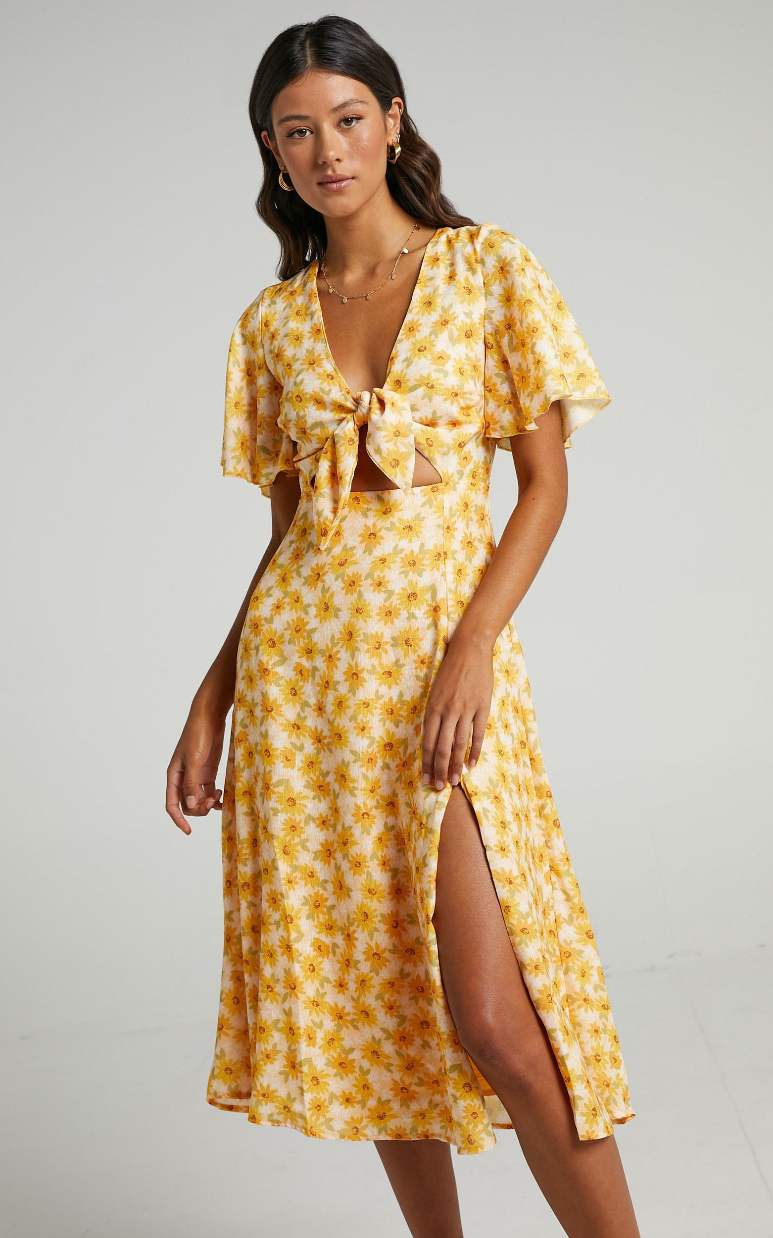 Wild And Free Mind Dress in Sunflower Print - 20, YEL1, hi-res image number null